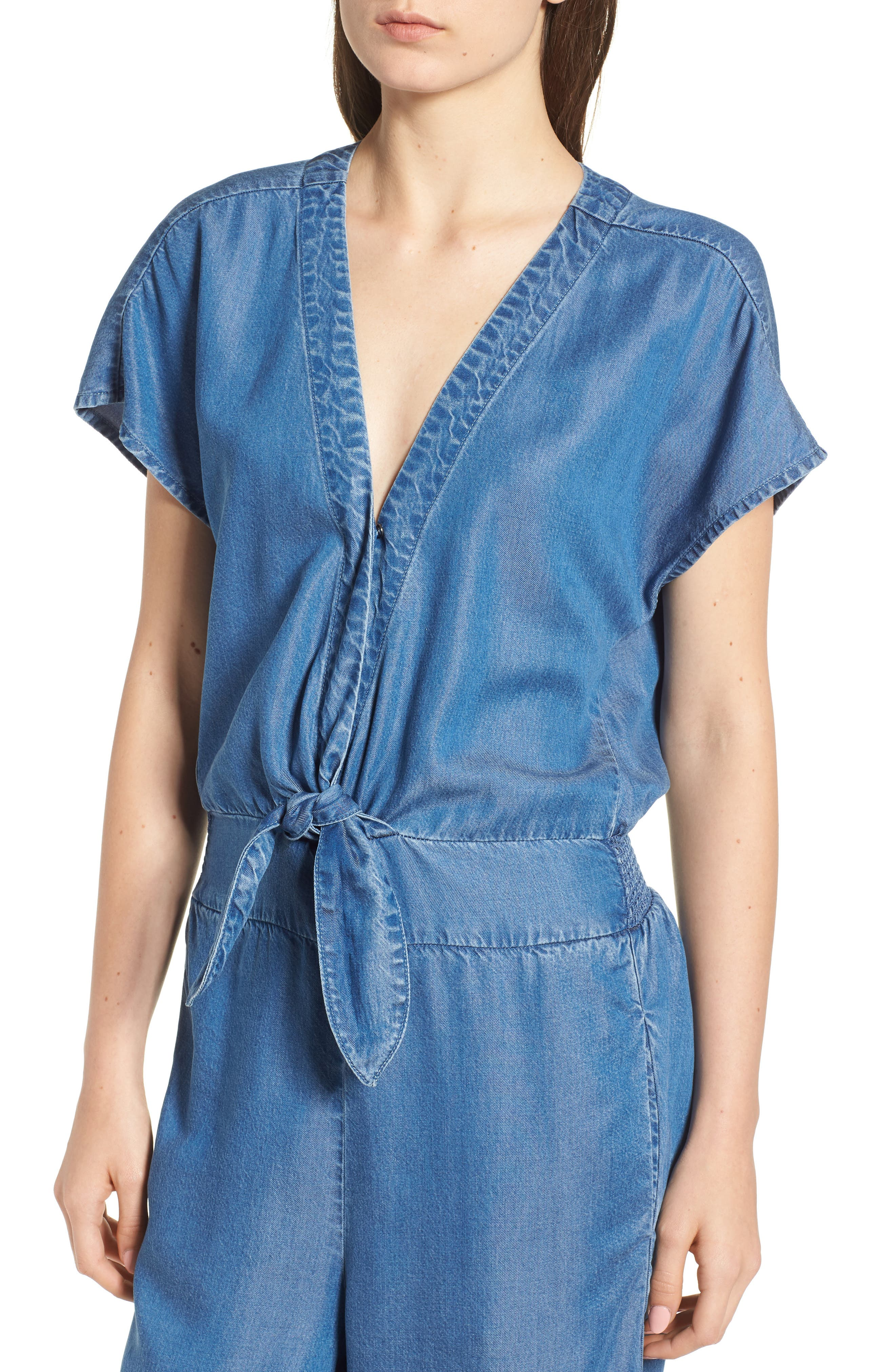 Desert Tie Waist Chambray Jumpsuit,                             Alternate thumbnail 4, color,                             MED WASH
