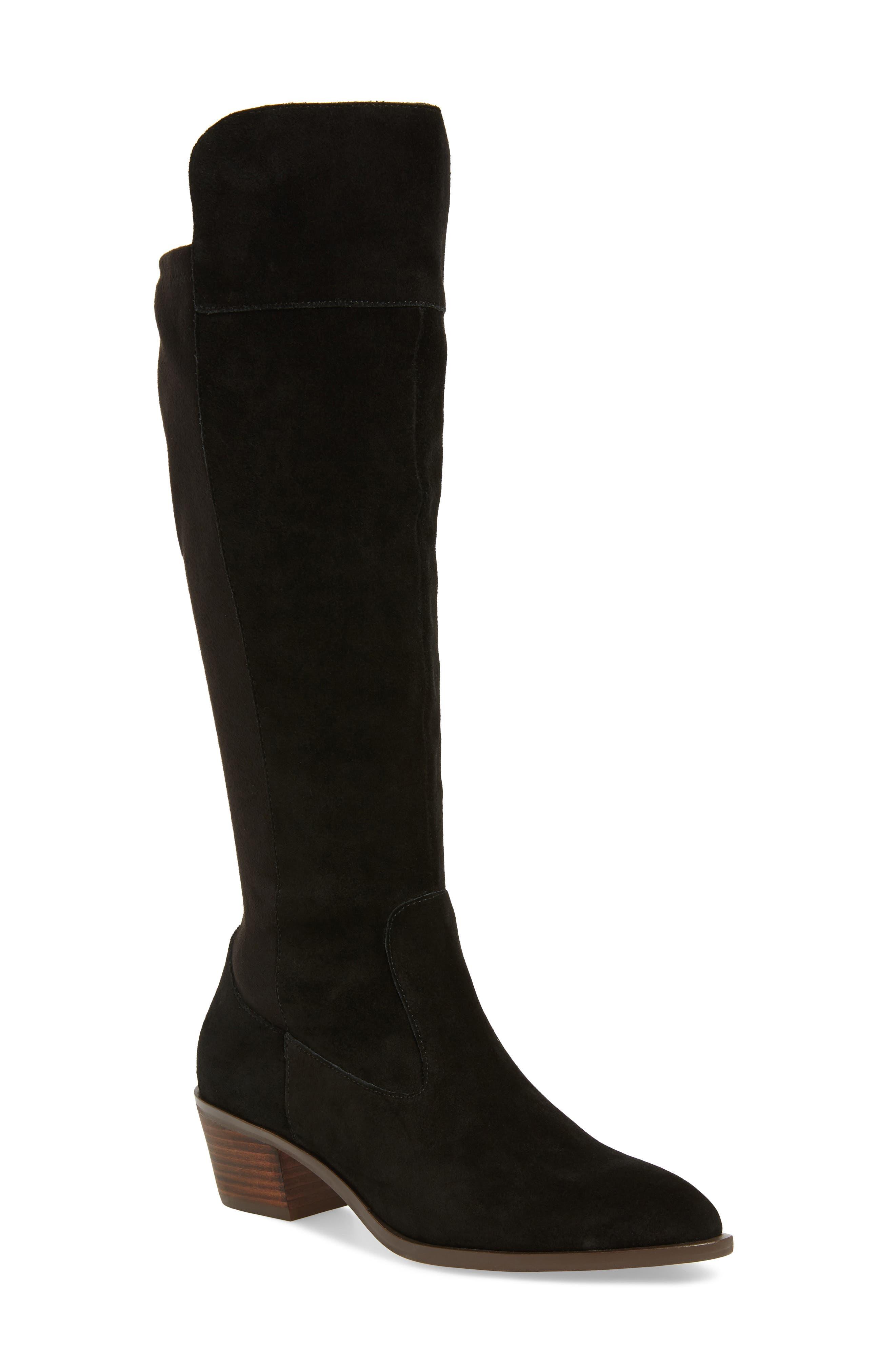 Noamie Knee High Boot,                             Main thumbnail 1, color,                             BLACK SUEDE