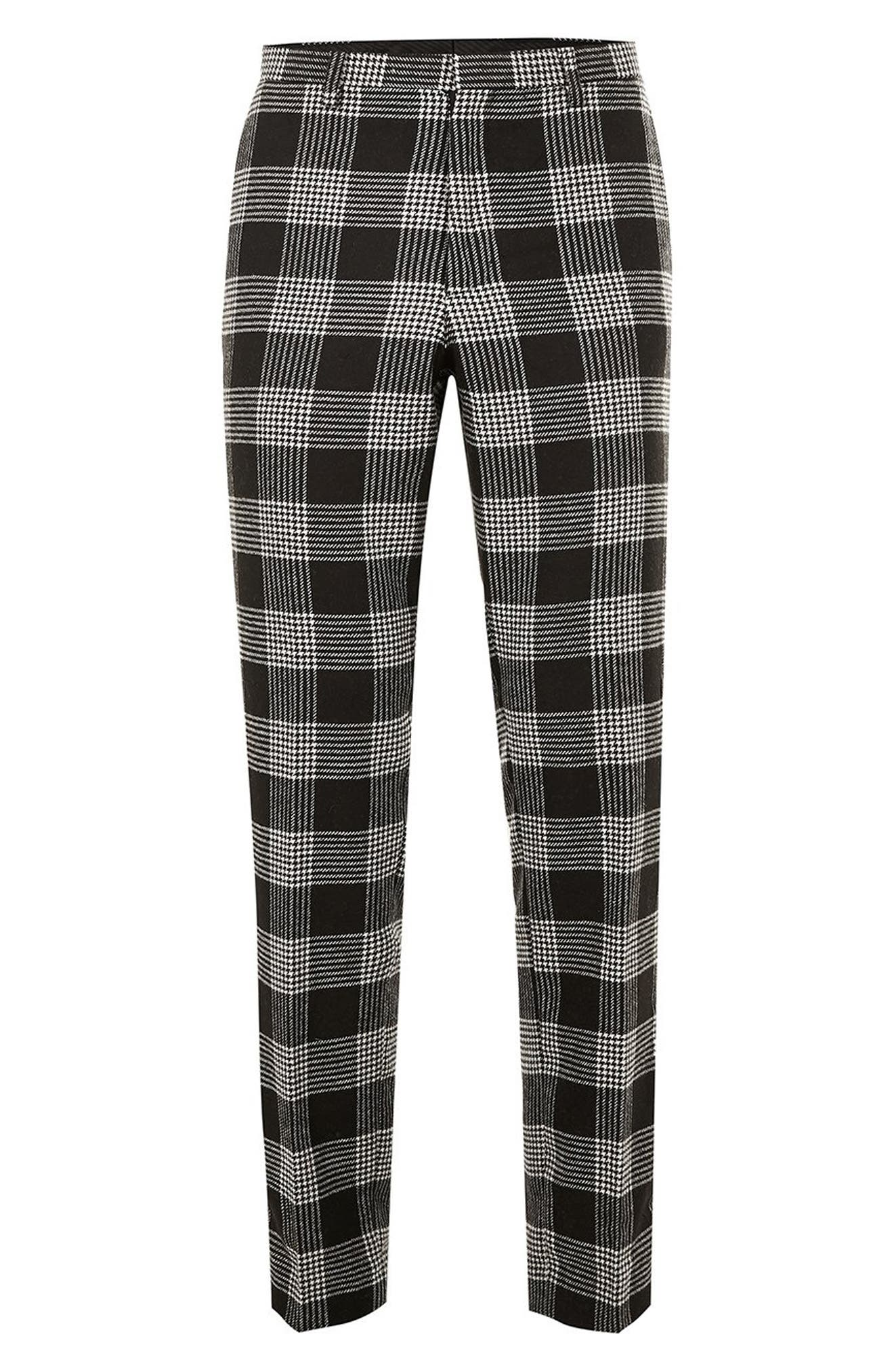 Leigh Classic Check Slim Fit Trousers,                             Alternate thumbnail 4, color,                             BLACK MULTI