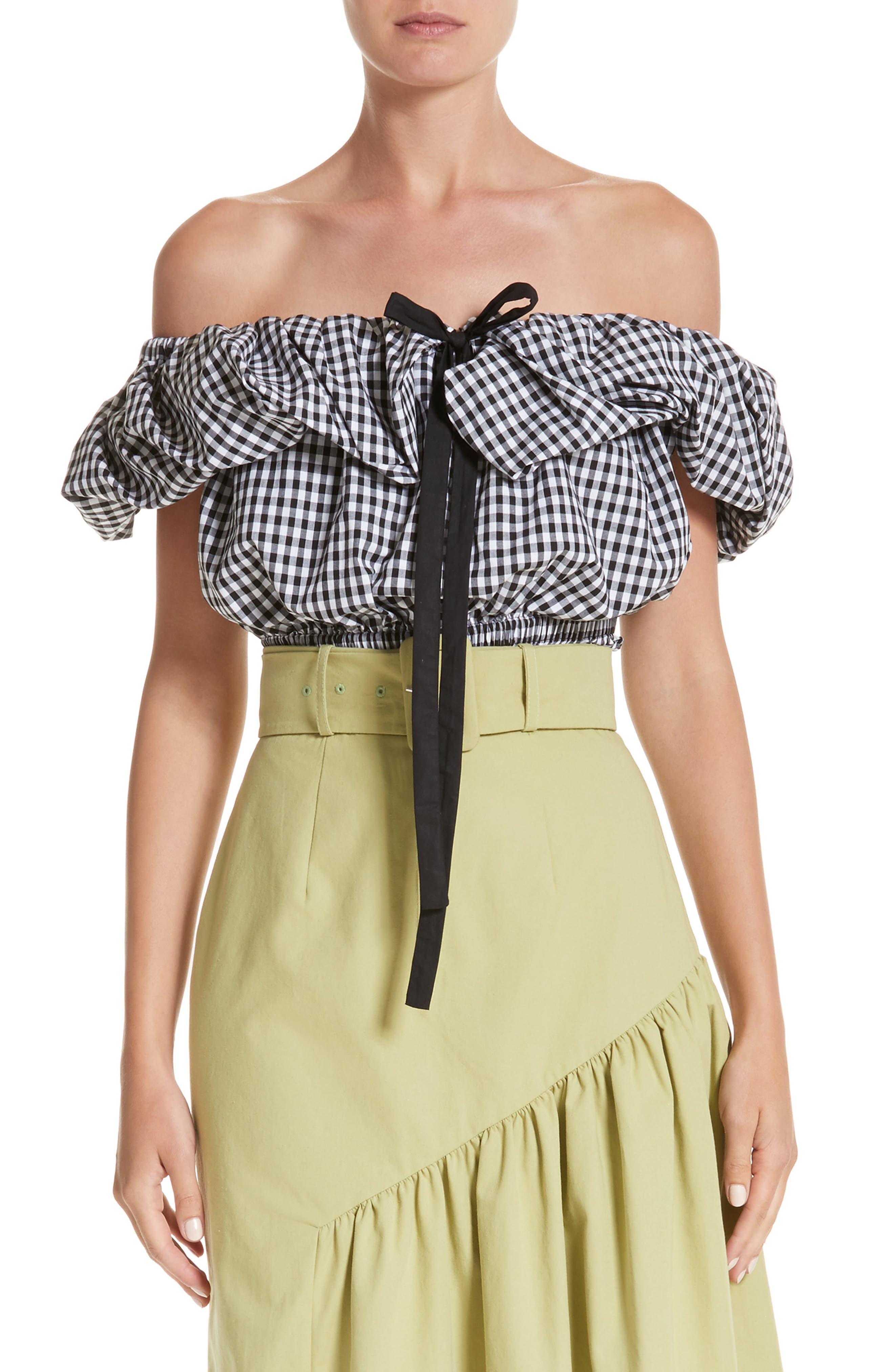 Ruched Gingham Off the Shoulder Top,                         Main,                         color, 100