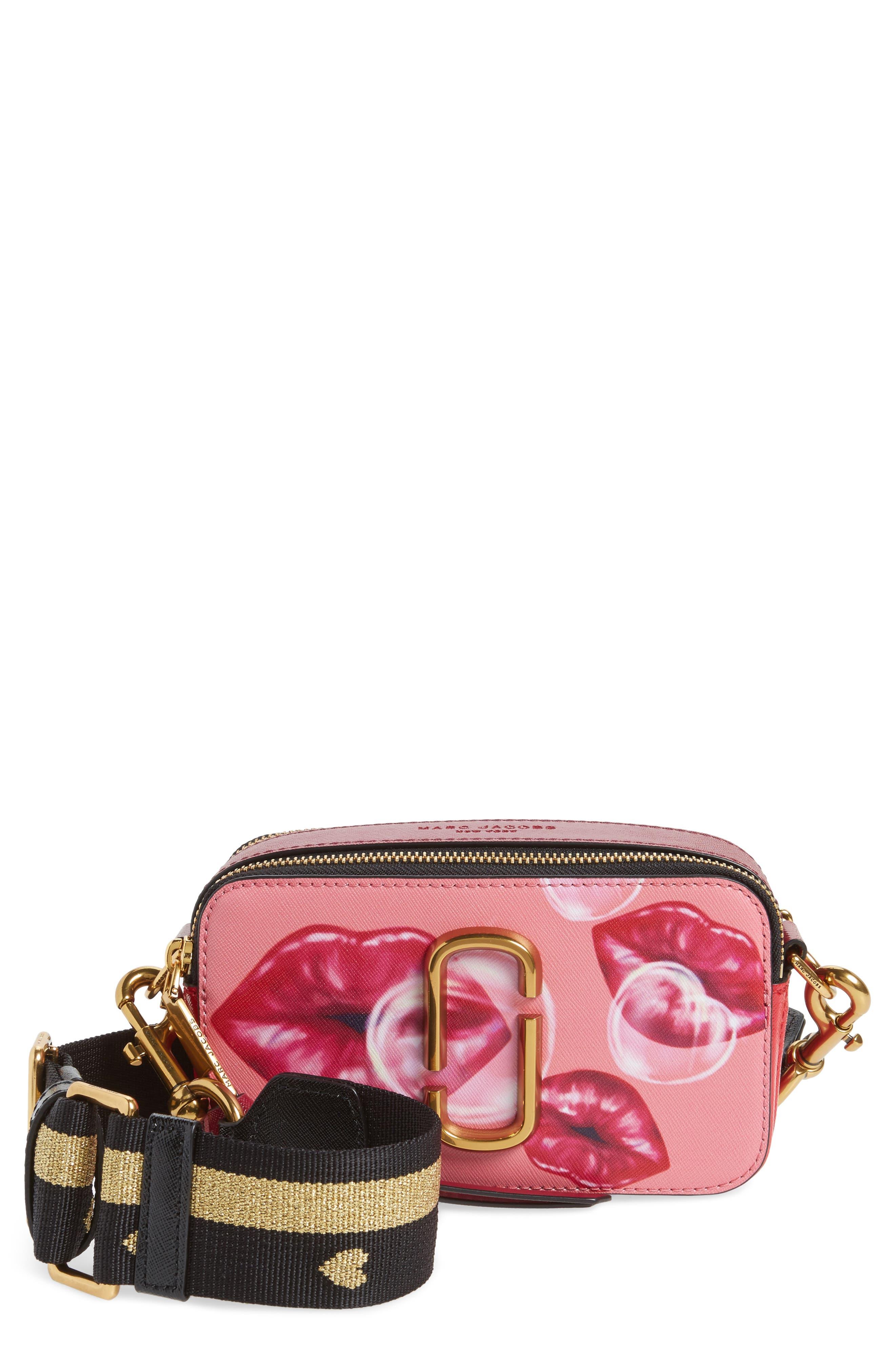 Snapshot Printed Lips Leather Crossbody Bag,                         Main,                         color, 675