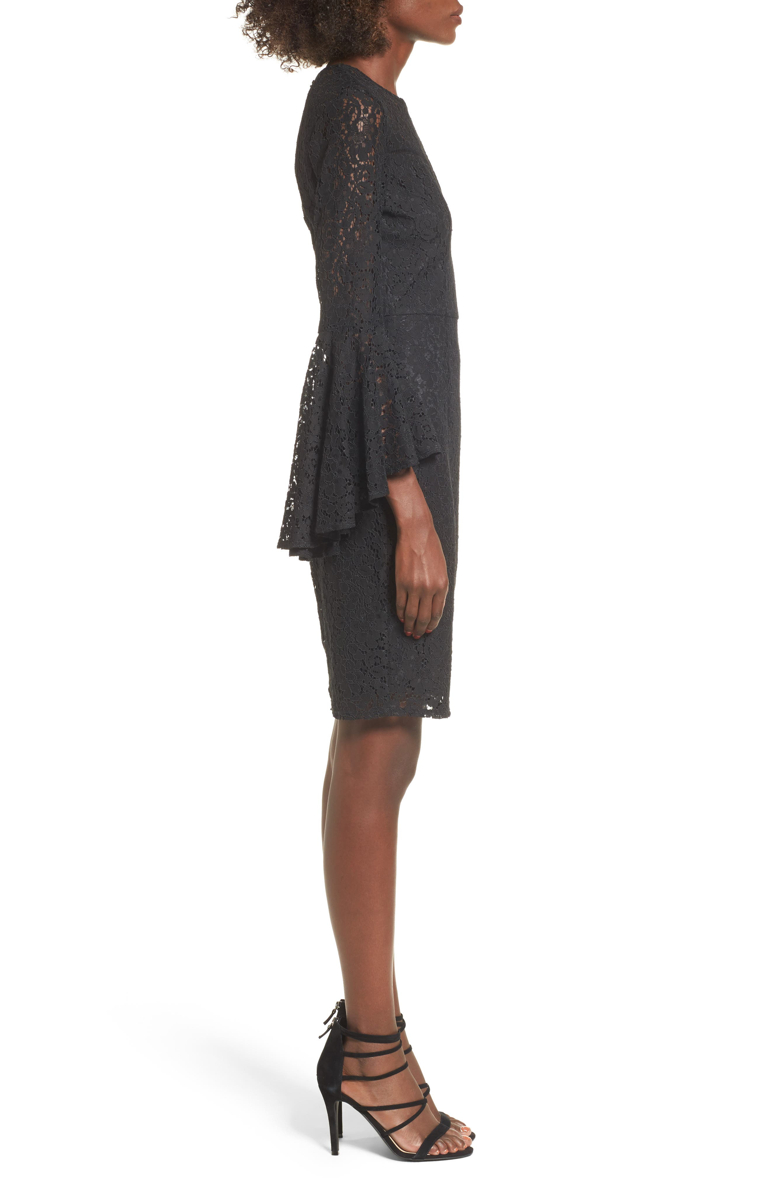 Lace Bell Sleeve Dress,                             Alternate thumbnail 3, color,
