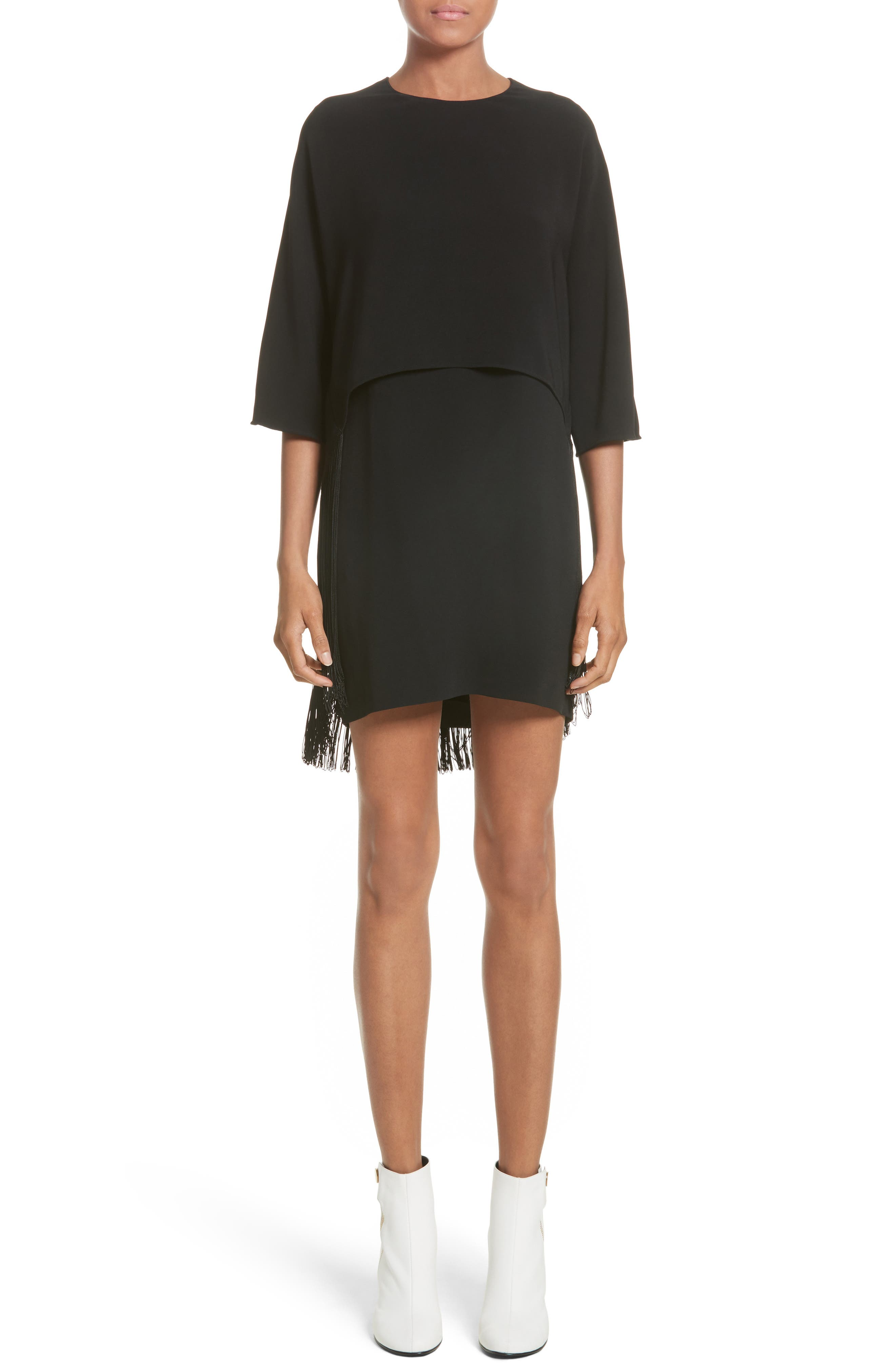 Fringe Overlay Stretch Cady Dress,                             Main thumbnail 1, color,