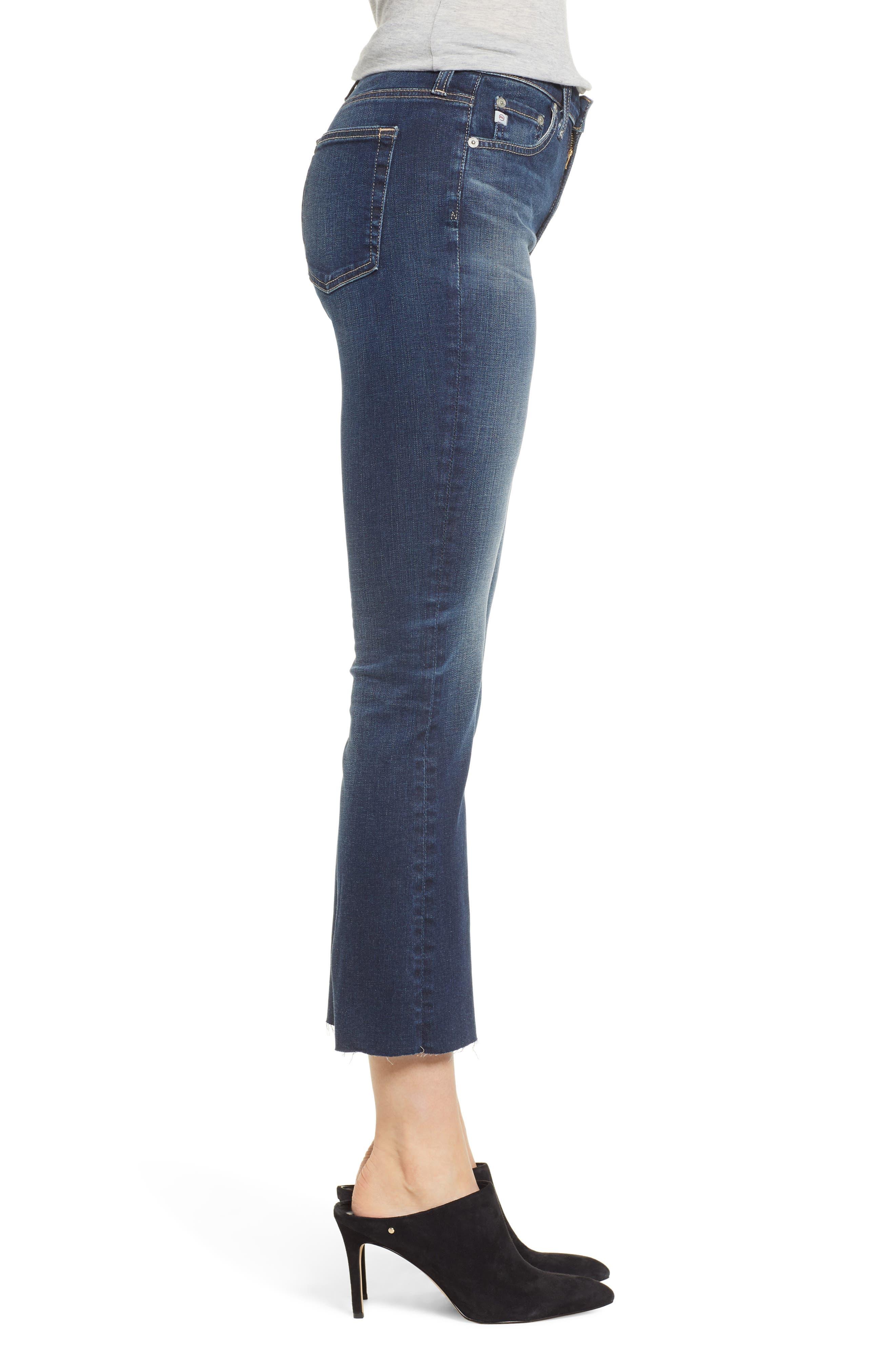 Jodi Raw Hem Crop Flare Jeans,                             Alternate thumbnail 3, color,                             10Y PURSUED