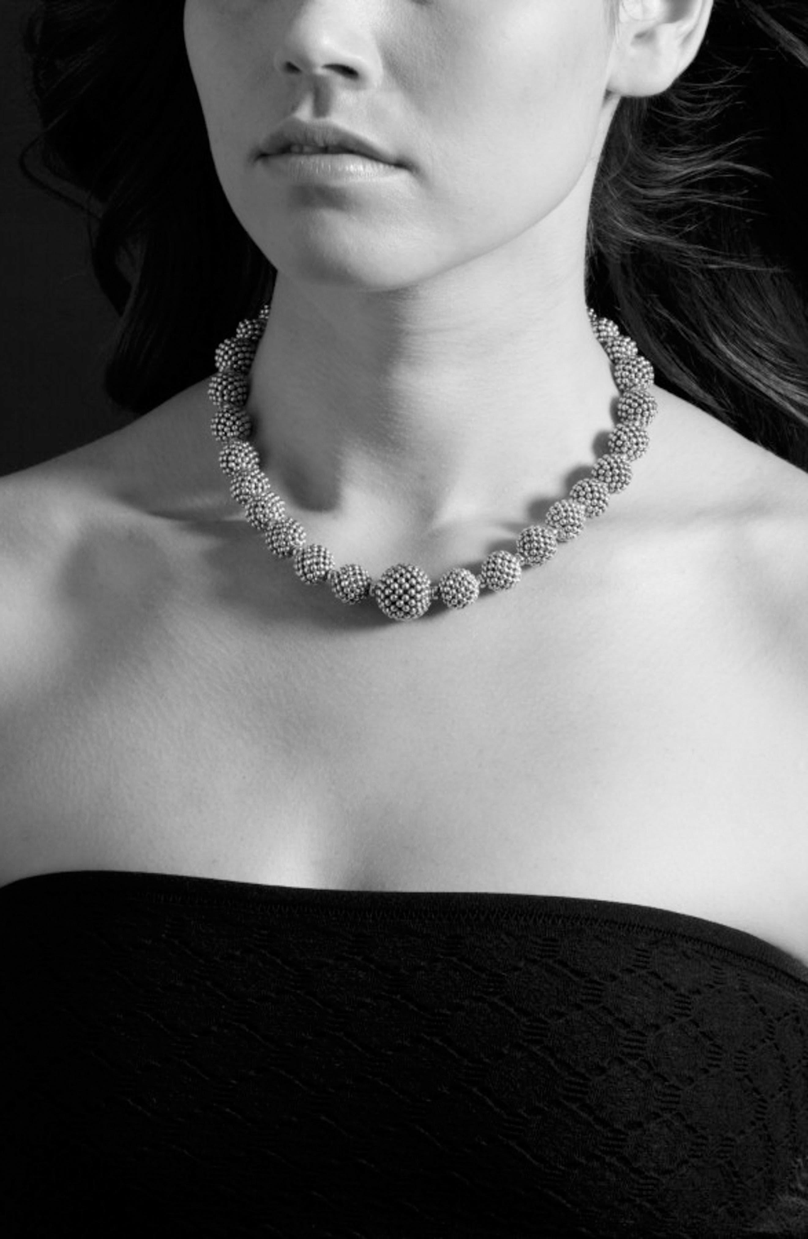 'Caviar Forever' Lattice Ball Necklace,                             Alternate thumbnail 2, color,                             SILVER