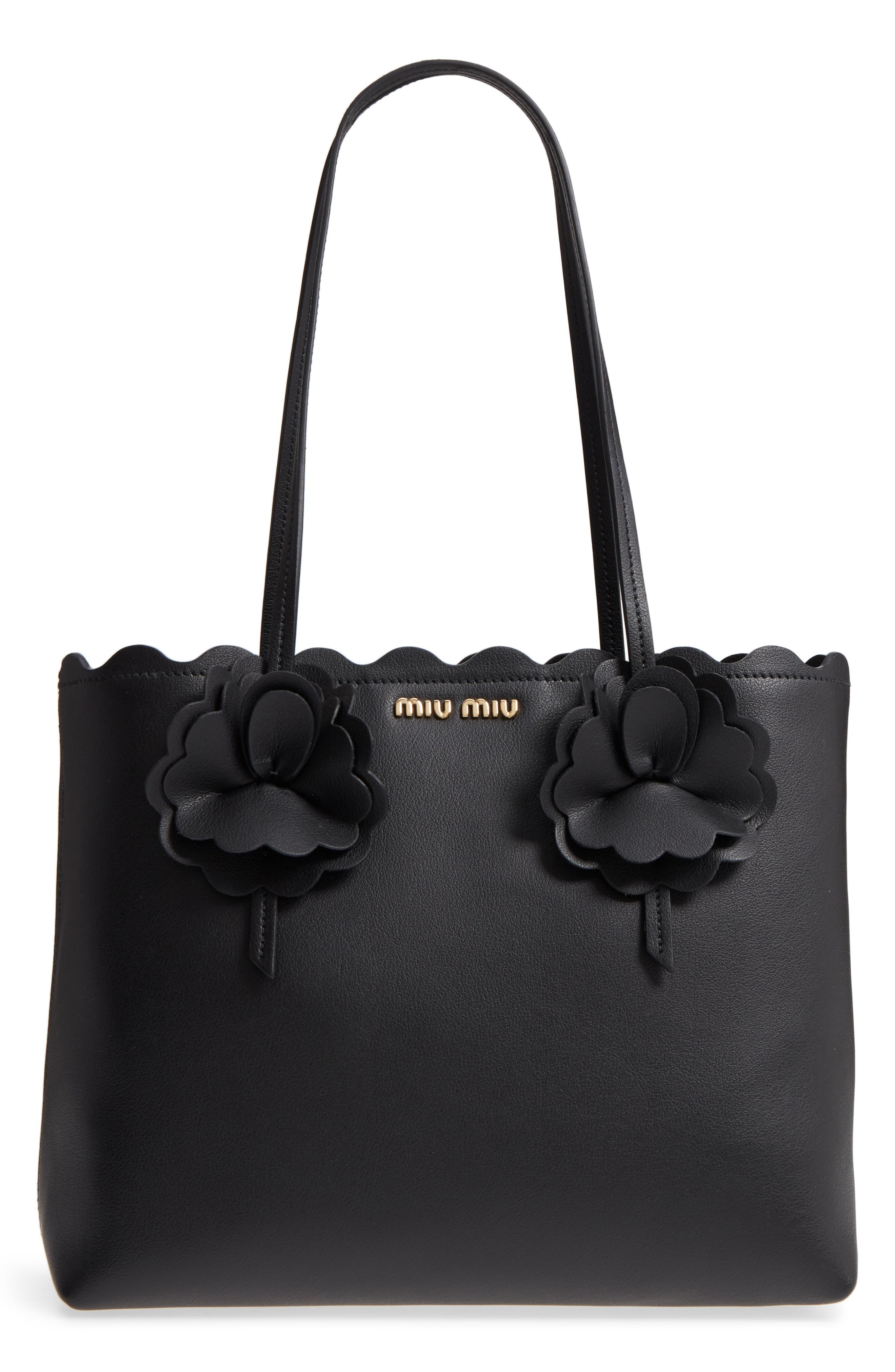 Flower Embellished Grainy Calfskin Tote,                             Main thumbnail 1, color,