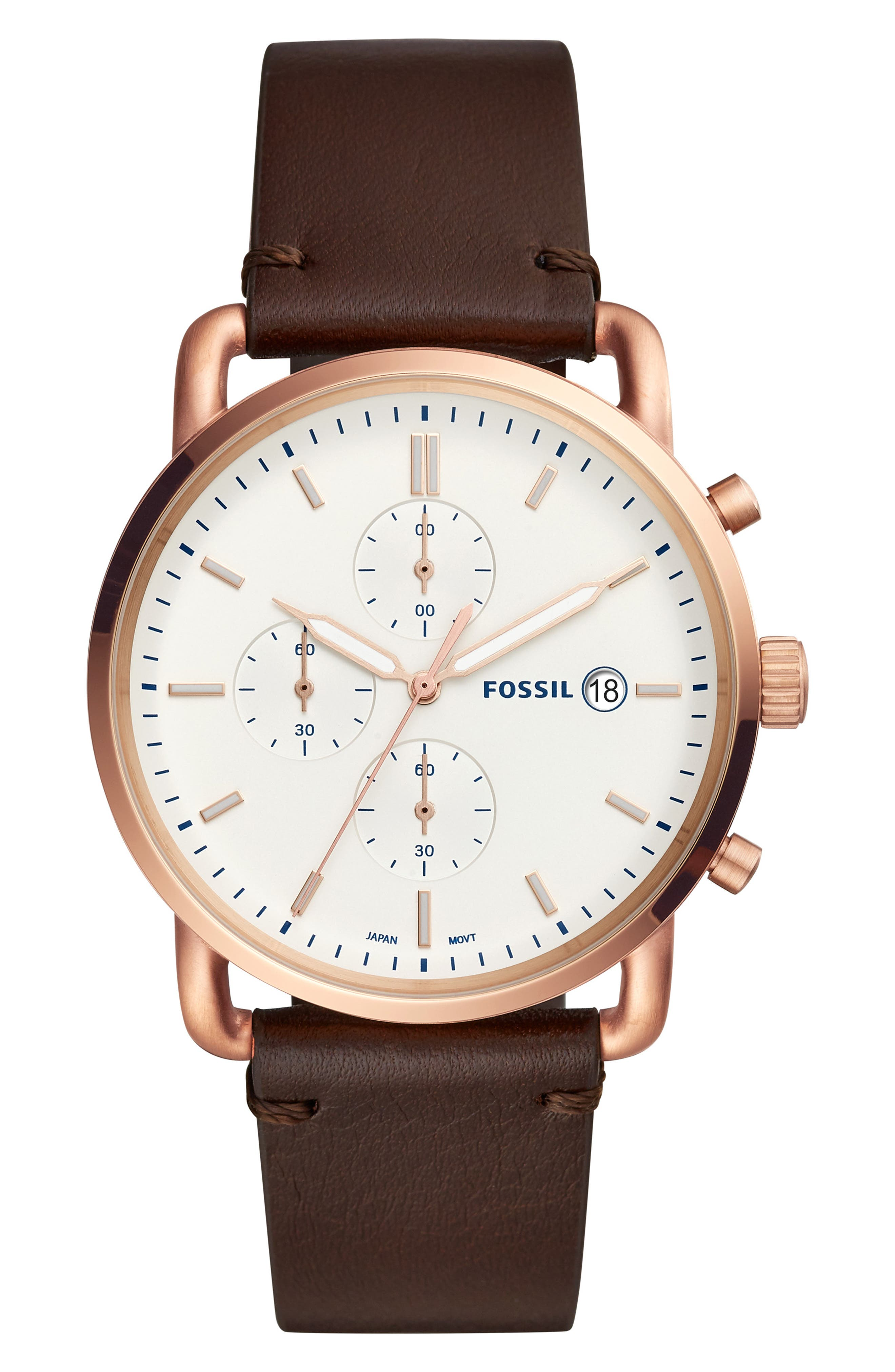 The Commuter Chronograph Leather Strap Watch, 42mm,                         Main,                         color, BROWN/ WHITE/ ROSE GOLD