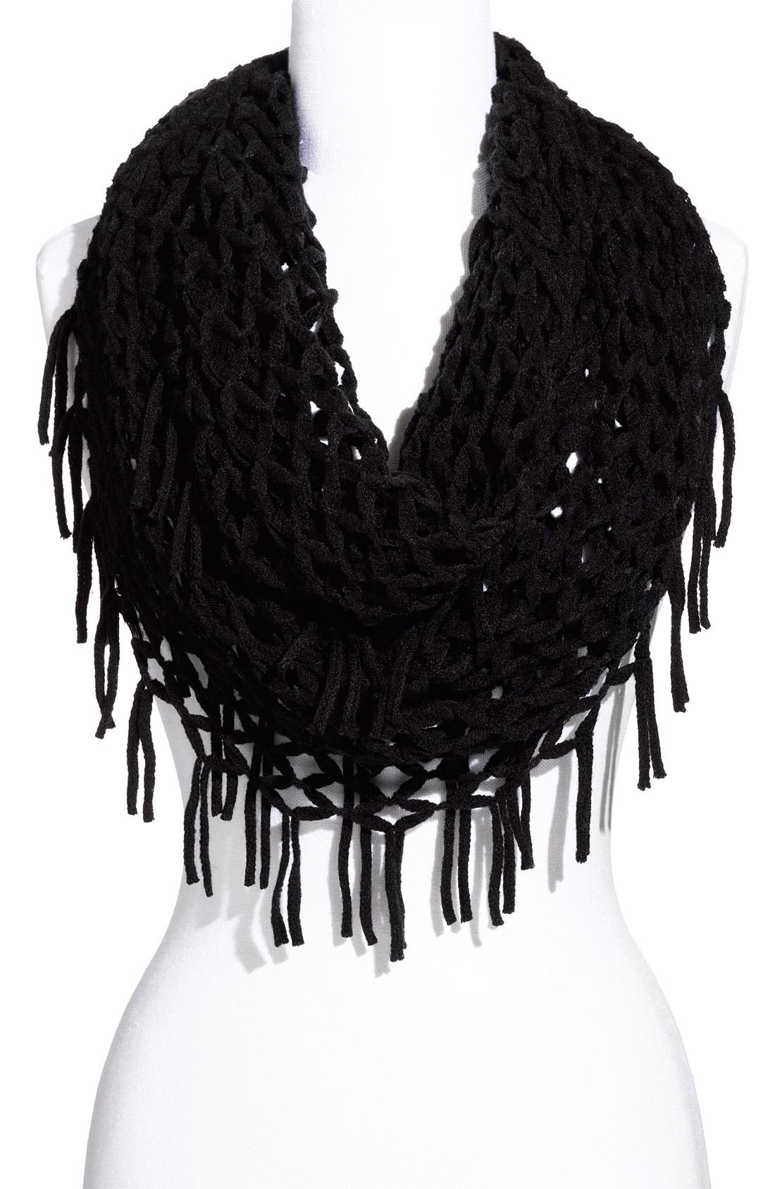 Airy Woven Fringed Infinity Scarf,                             Main thumbnail 1, color,                             001