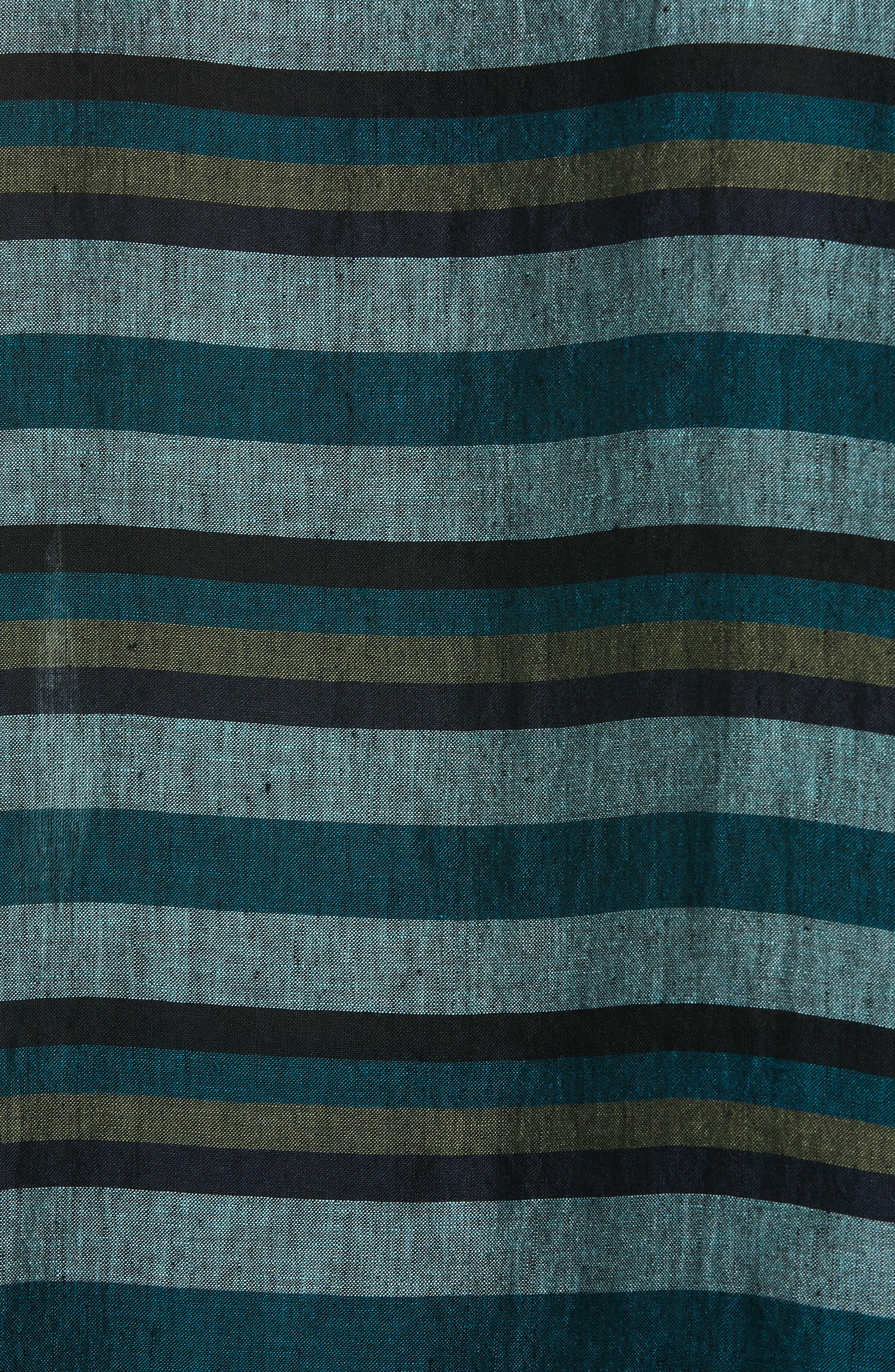 Stripe Organic Linen Top,                             Alternate thumbnail 5, color,                             TEAL