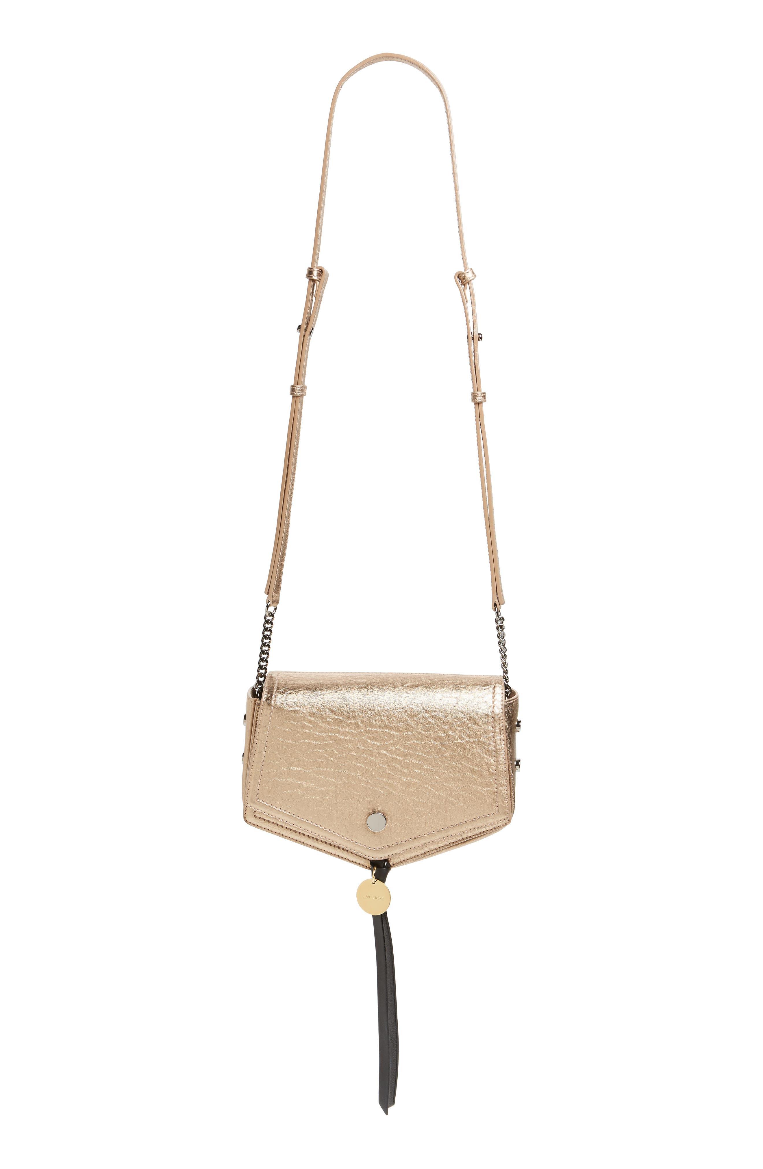 Arrow Metallic Grained Leather Shoulder Bag,                             Main thumbnail 3, color,