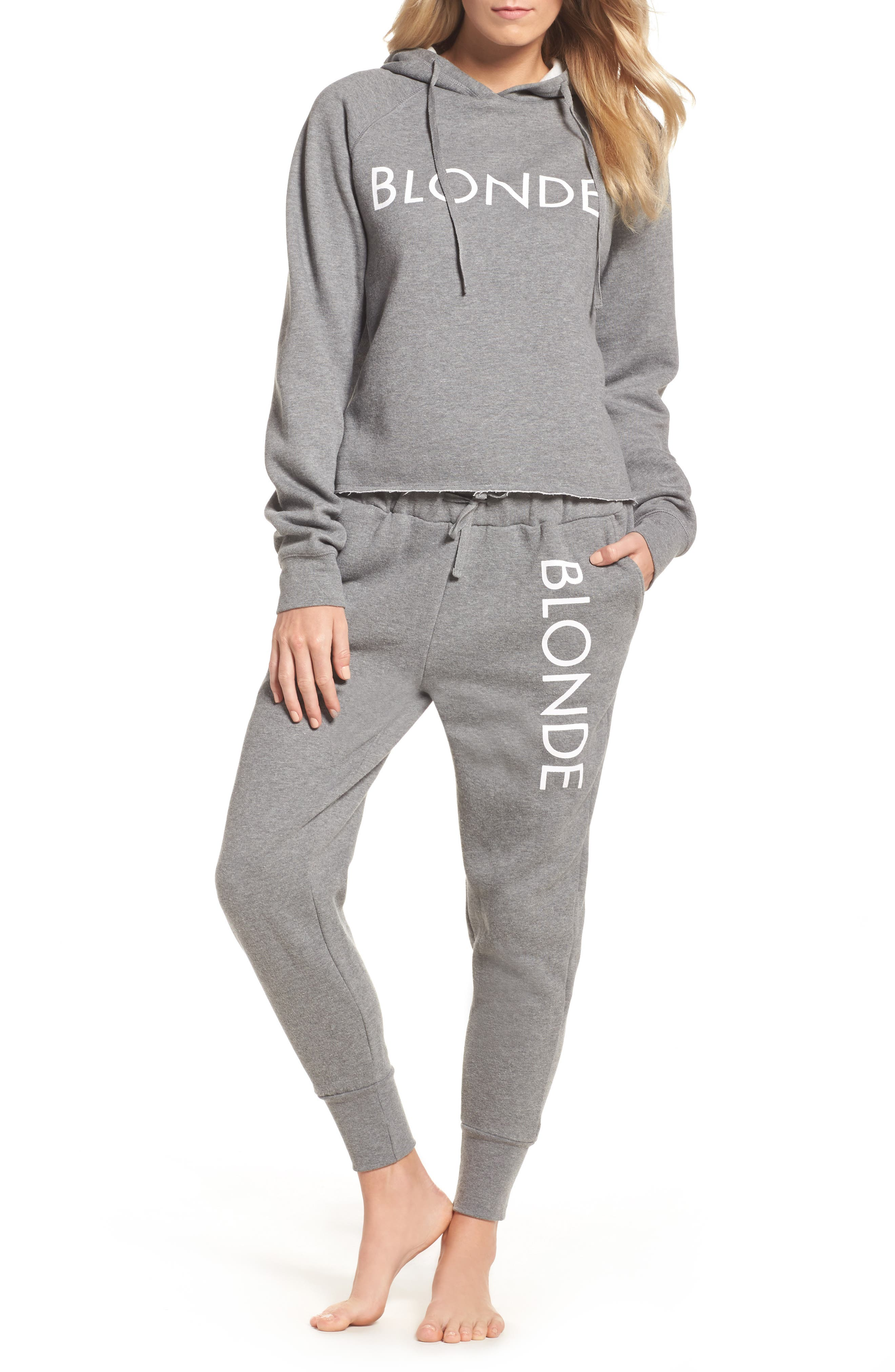 Blonde Raw Hem Hoodie,                             Alternate thumbnail 7, color,                             HEATHER GREY WHITE