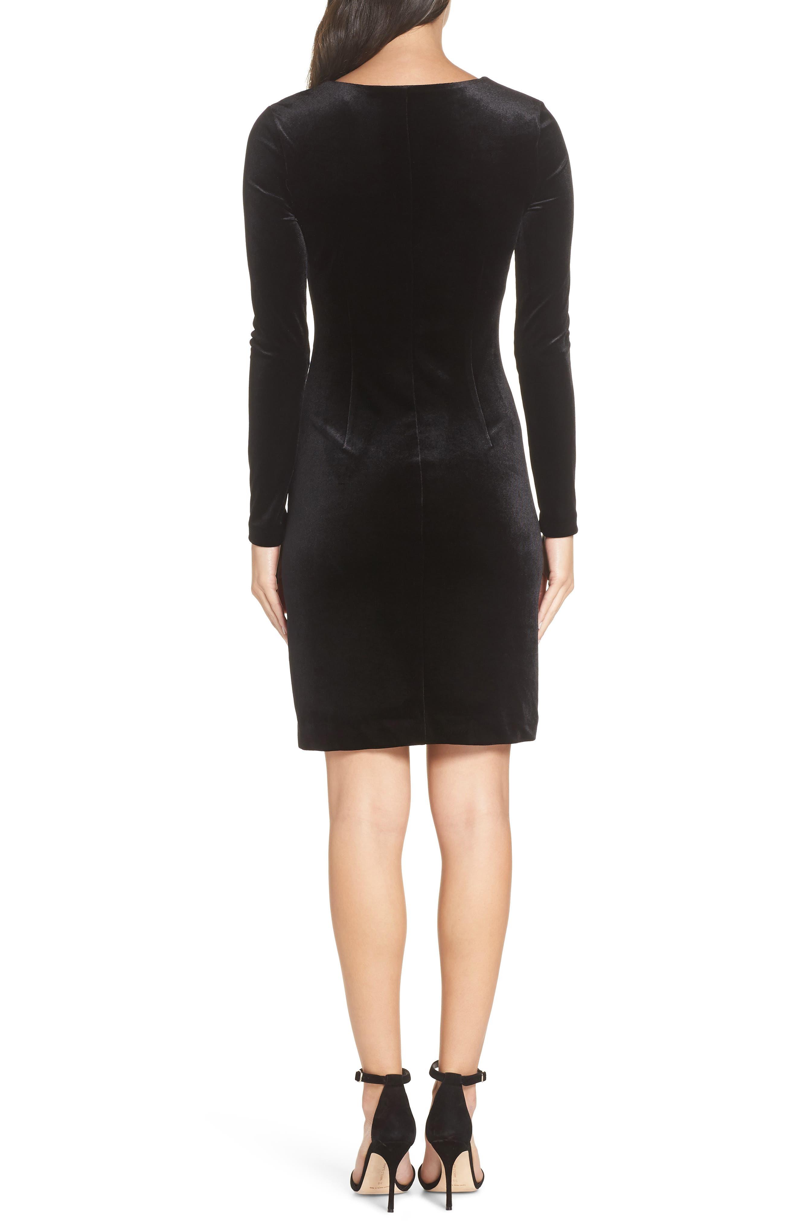 Zella Aurore Velvet Jersey Sheath Dress,                             Alternate thumbnail 2, color,                             BLACK GOLD