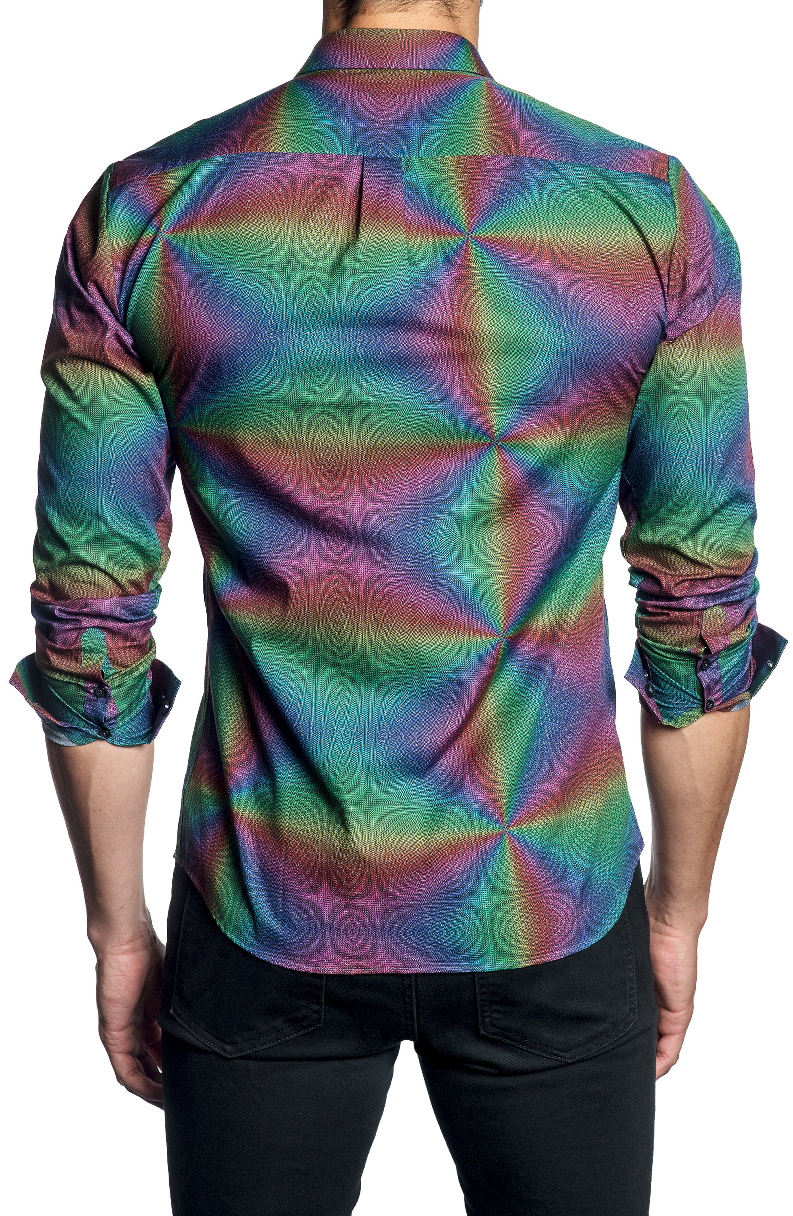 Moiré Print Sport Shirt,                             Alternate thumbnail 2, color,                             001