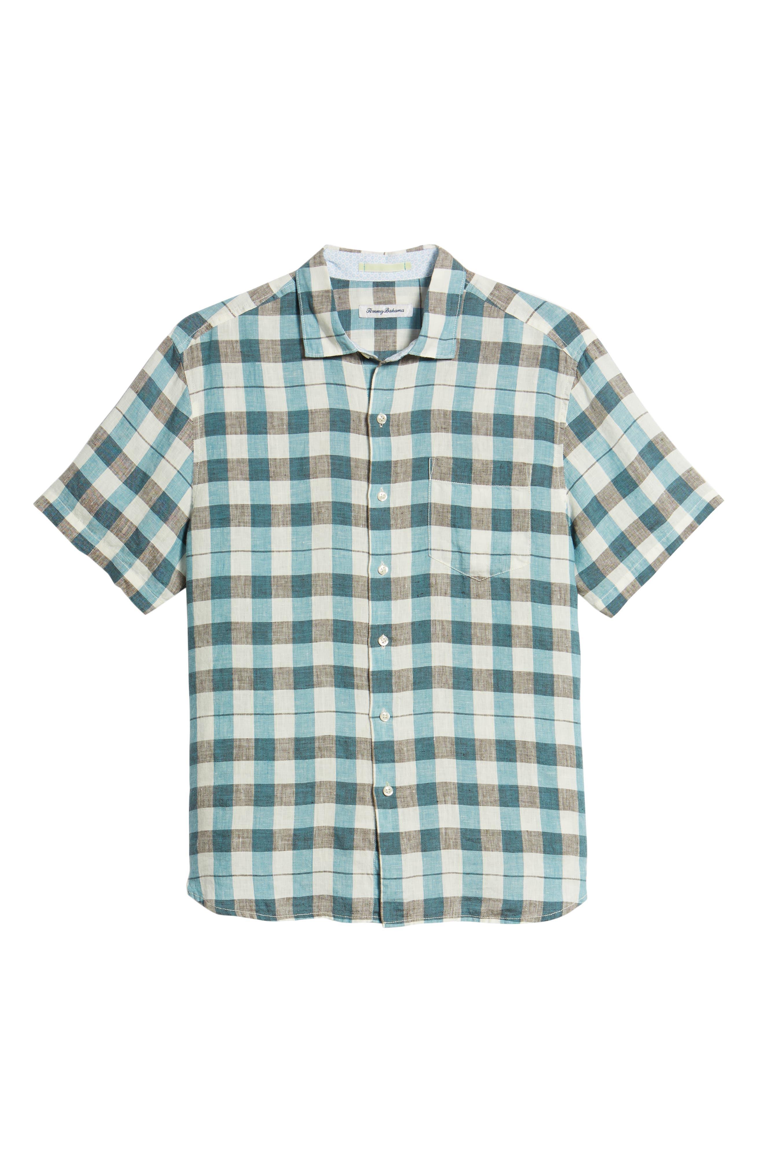 Gingham Del Toro Linen Blend Sport Shirt,                             Alternate thumbnail 11, color,