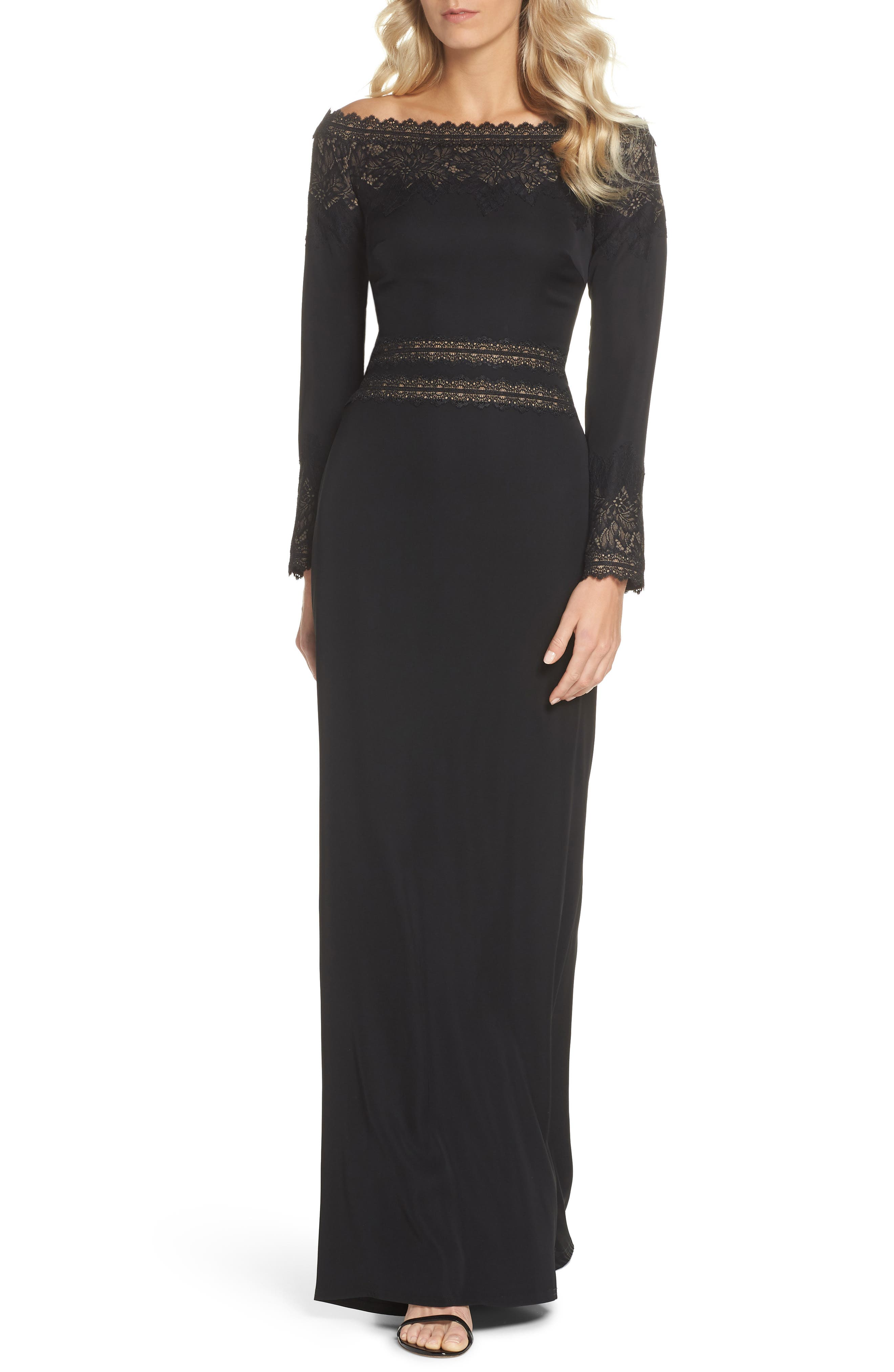 Lace & Crepe Gown,                         Main,                         color, BLACK