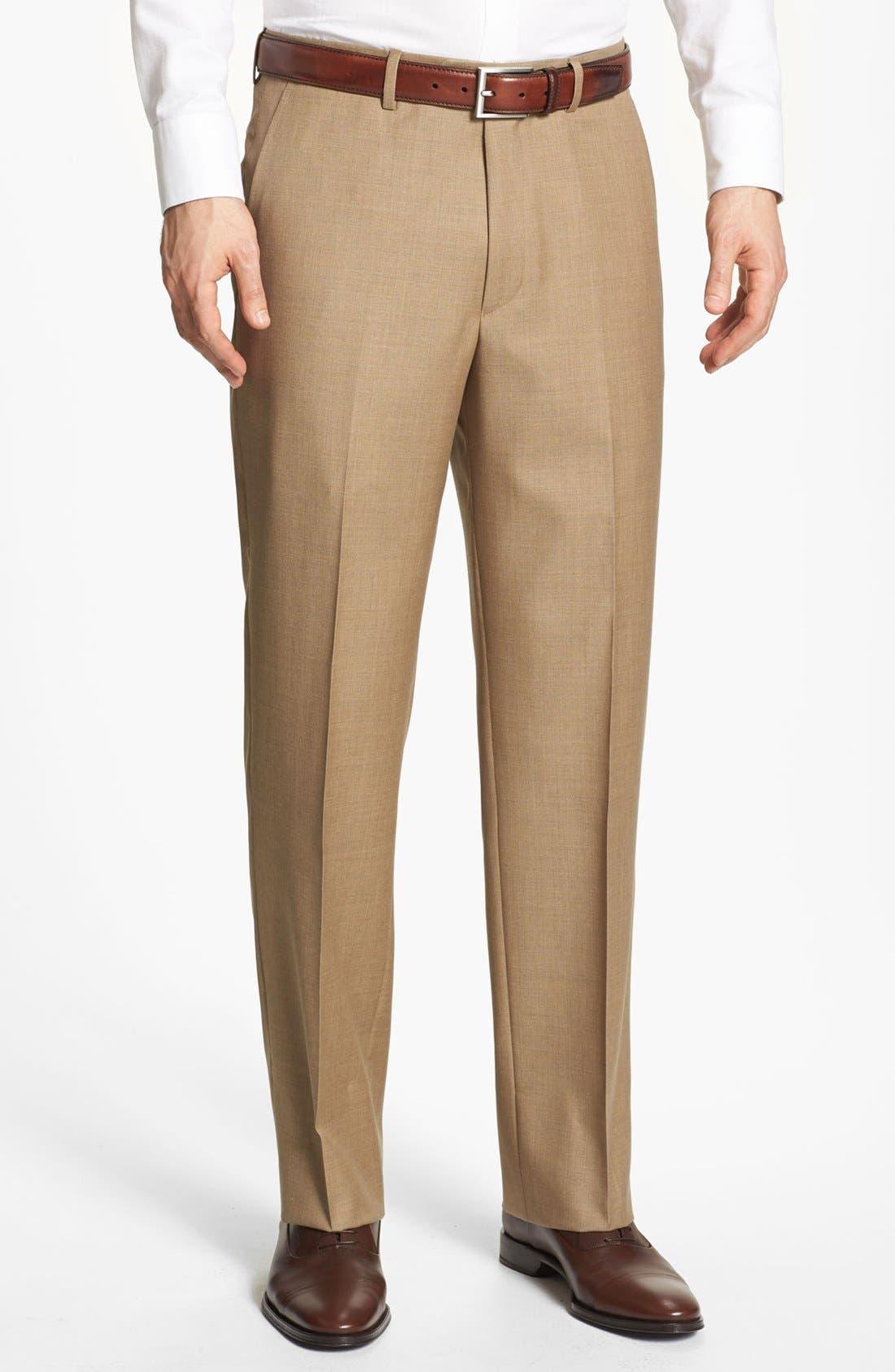 SANTORELLI Luxury Flat Front Wool Trousers in Tan