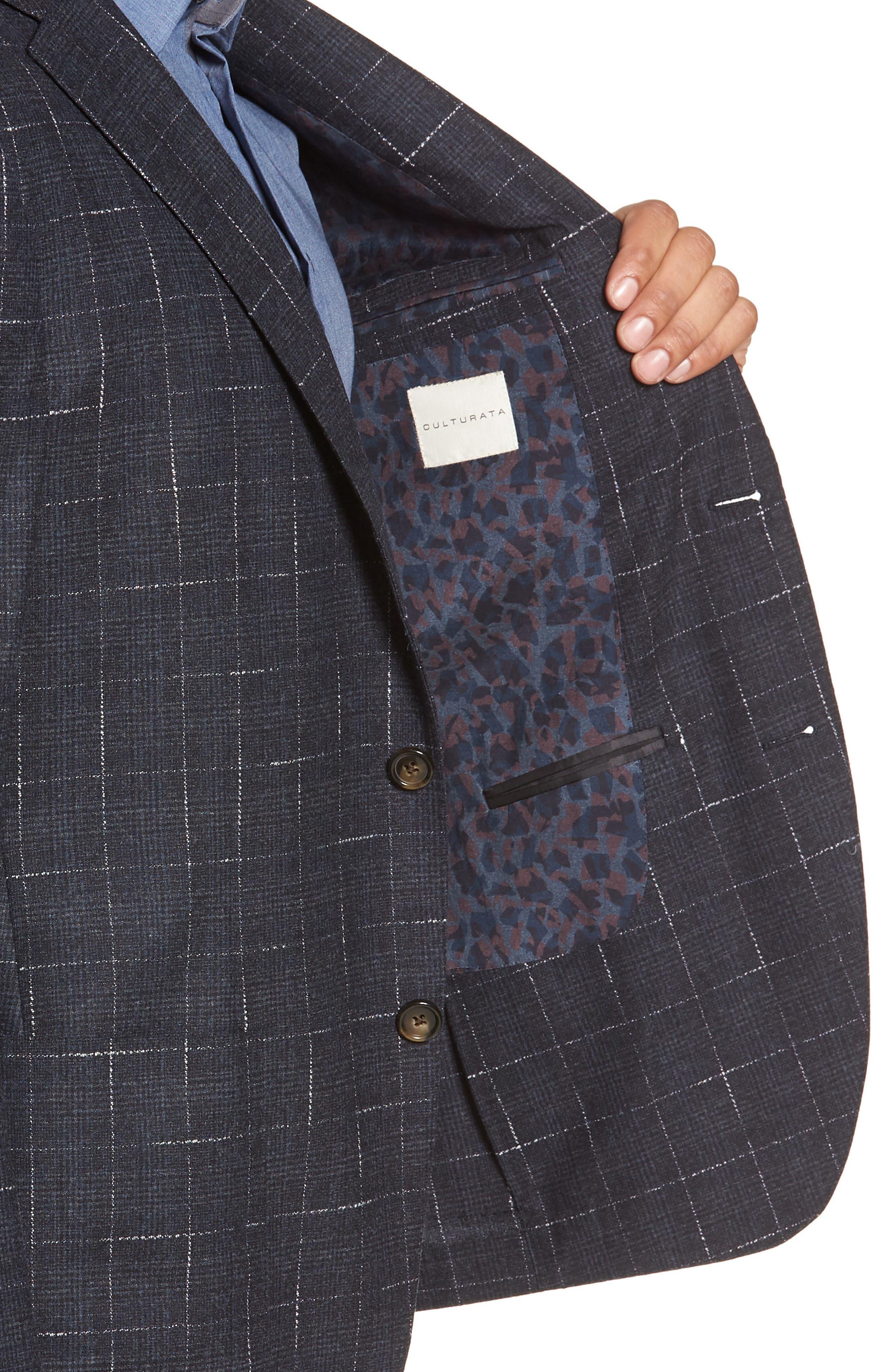 Trim Fit Stretch Plaid Wool Sport Coat,                             Alternate thumbnail 4, color,                             NAVY
