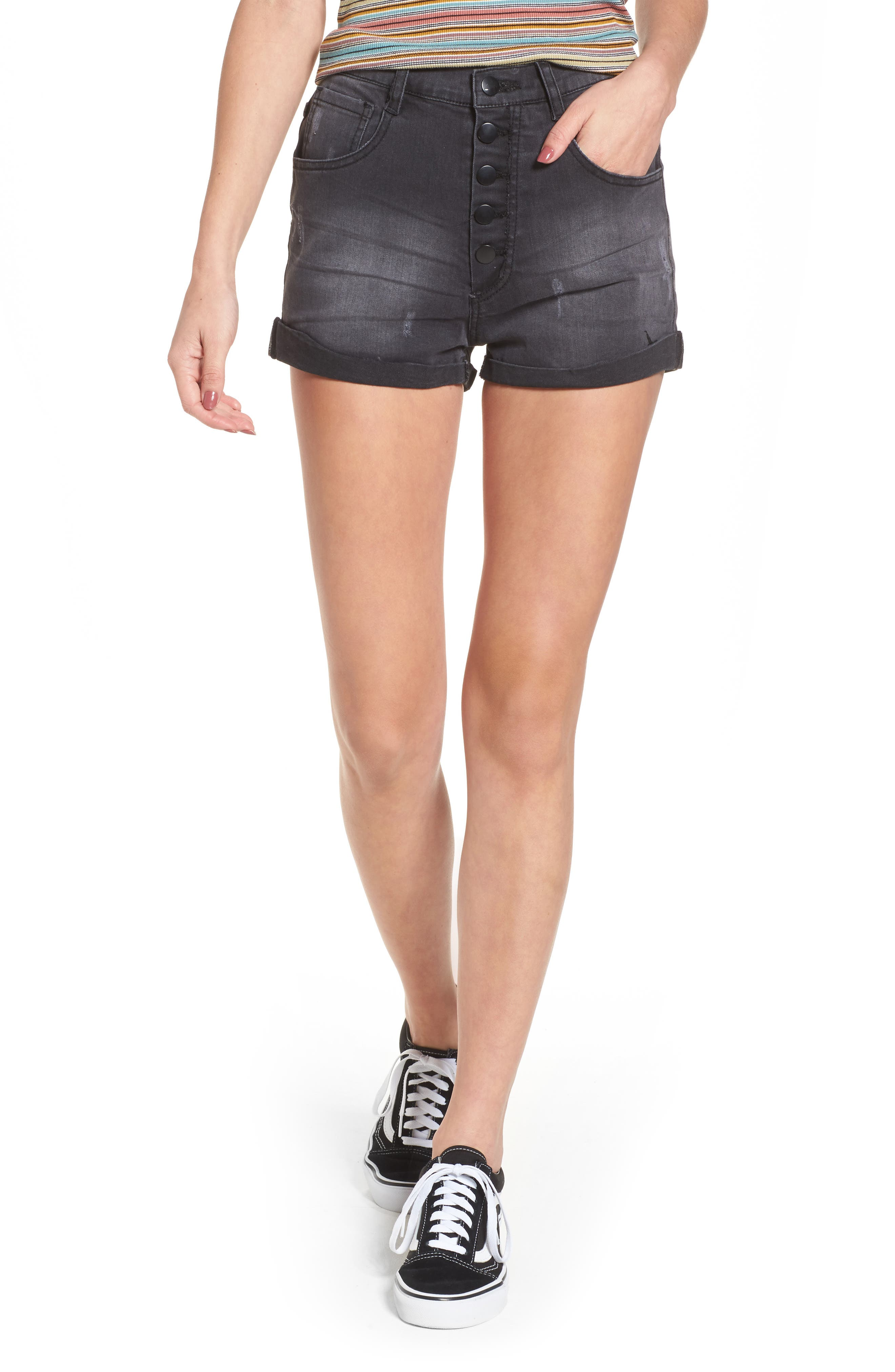 Rachel High Waisted Denim Shorts,                         Main,                         color, 001