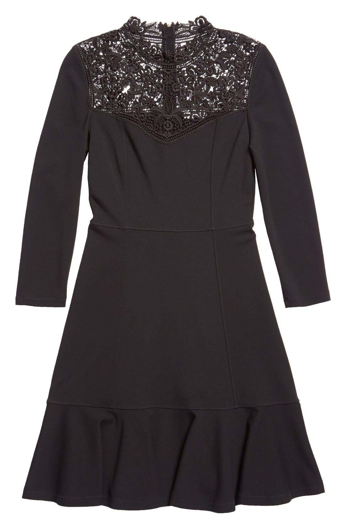 'Rieko' Lace Inset Jersey Dress,                             Alternate thumbnail 5, color,                             001