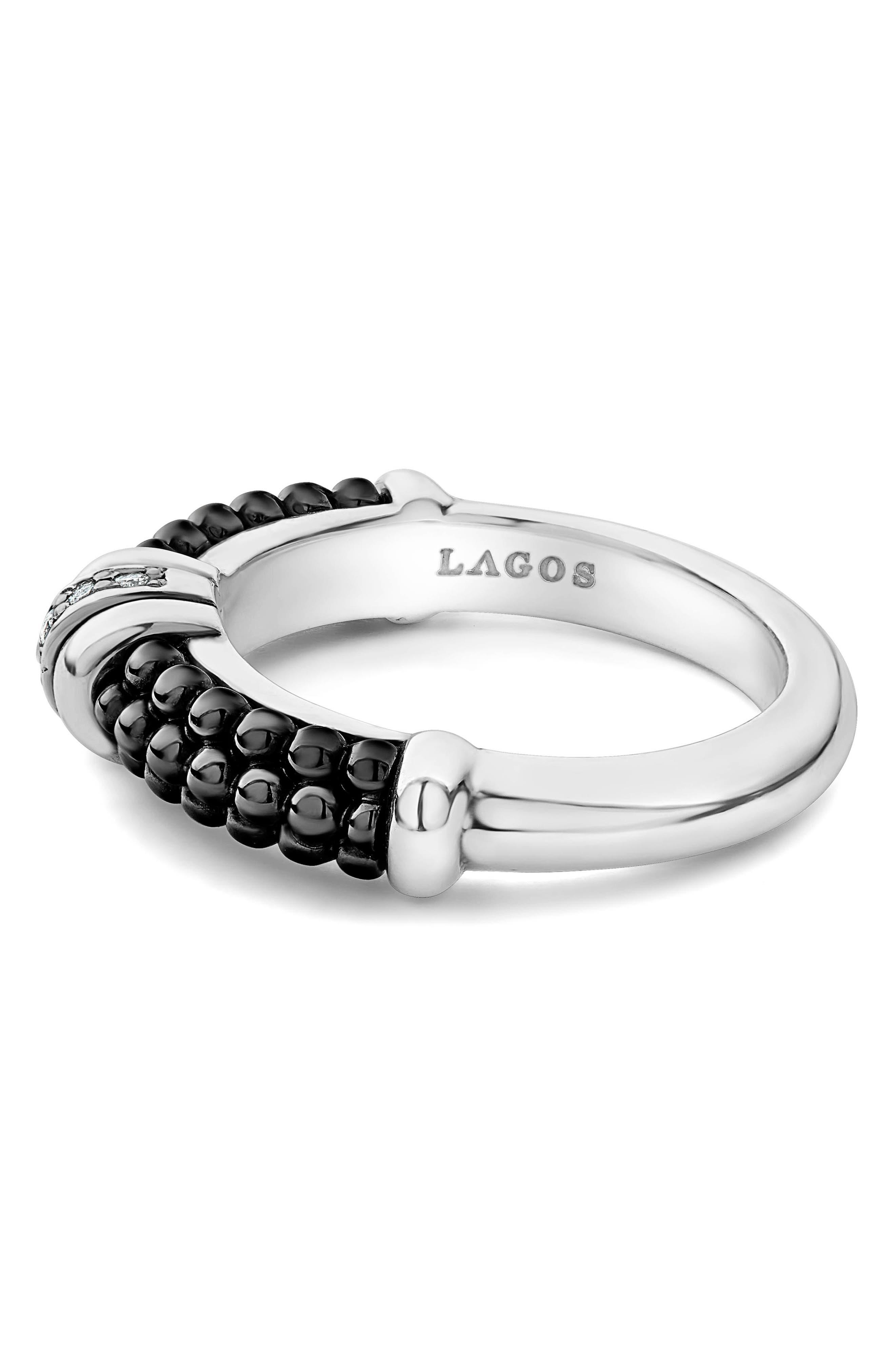 Black Caviar Diamond Stack Ring,                             Alternate thumbnail 3, color,                             SILVER/ BLACK