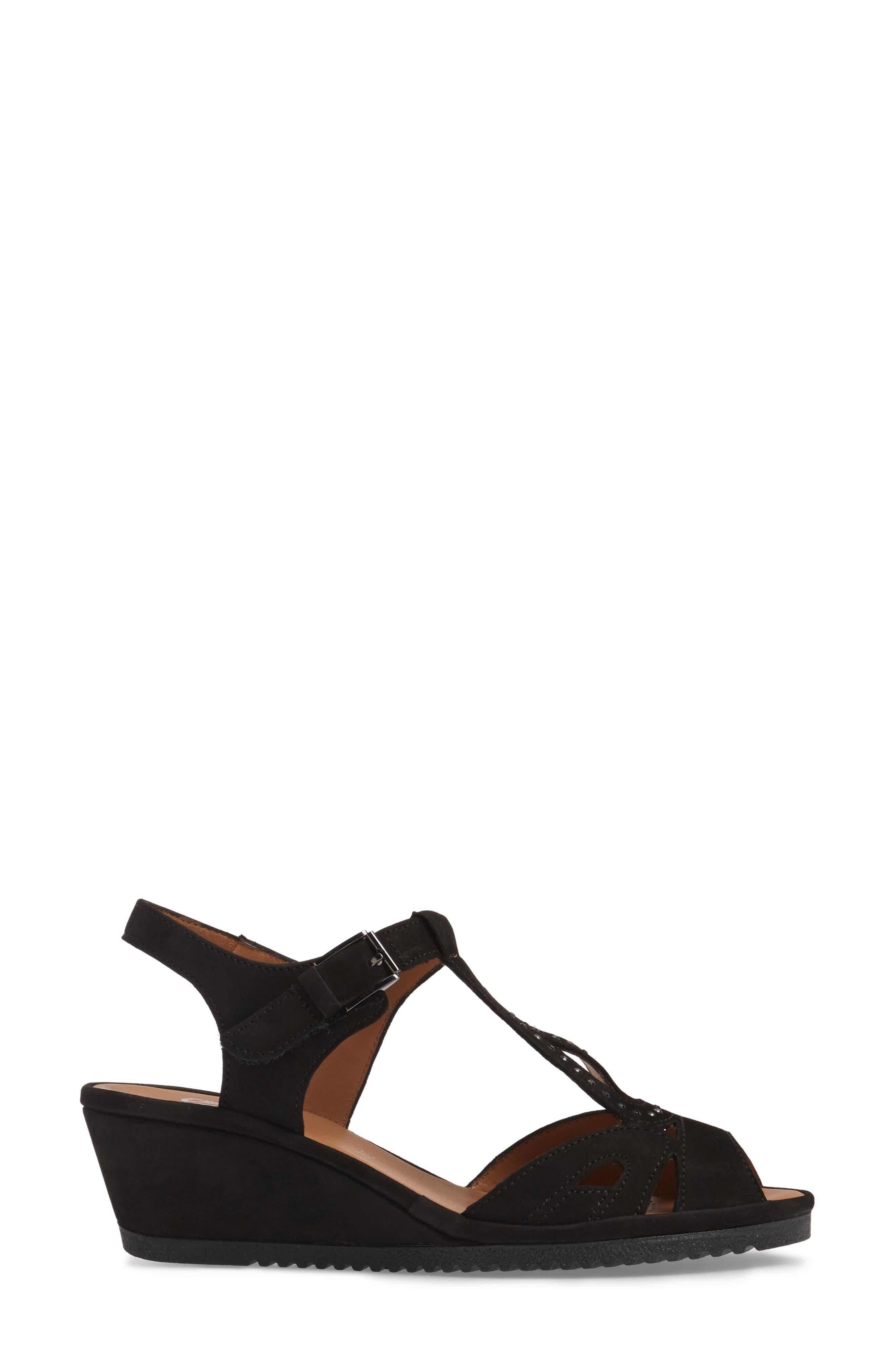 ARA,                             Wedge Sandal,                             Alternate thumbnail 3, color,                             BLACK