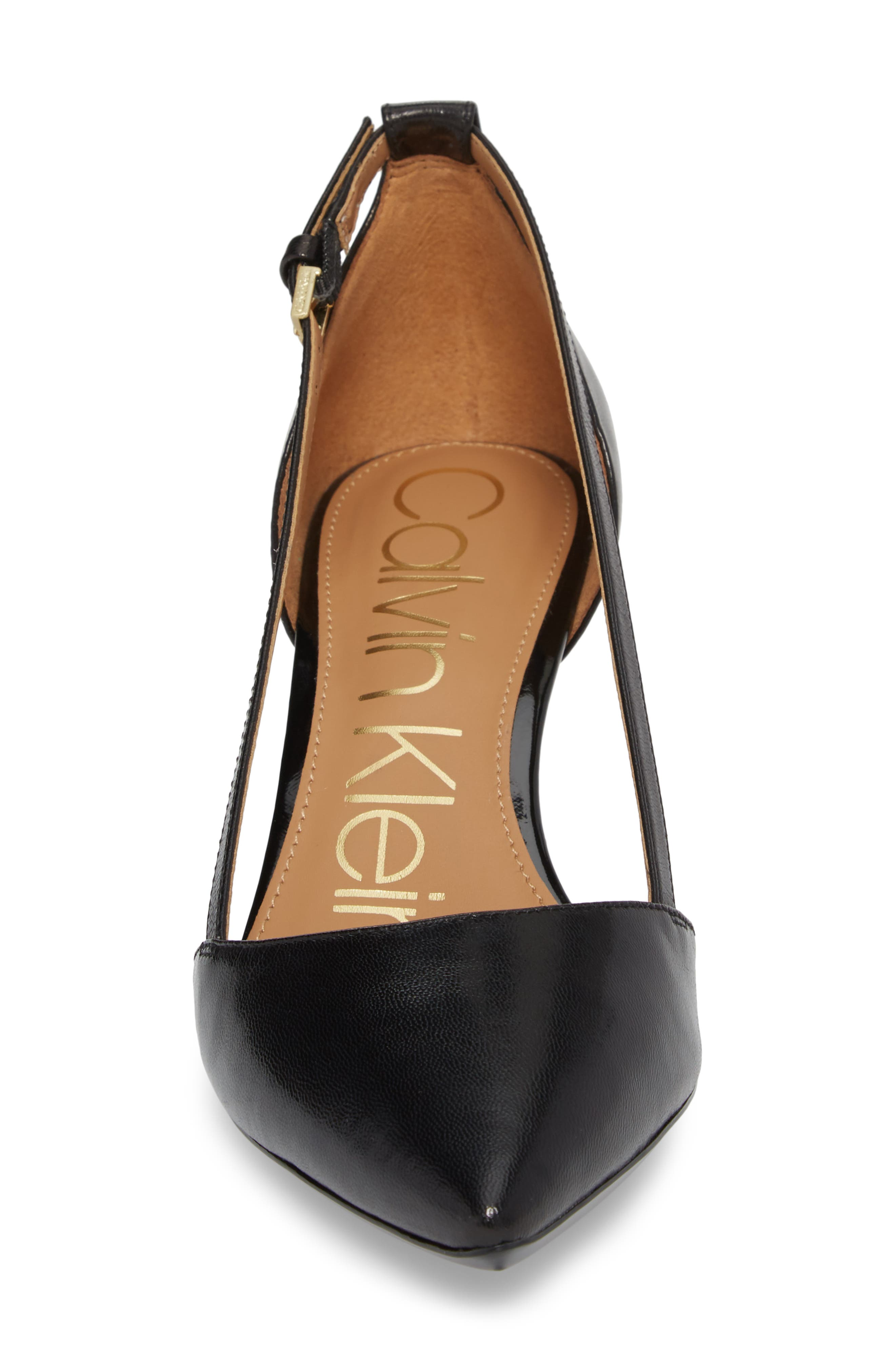 Pashka Strappy Open Sided Pump,                             Alternate thumbnail 4, color,                             BLACK LEATHER