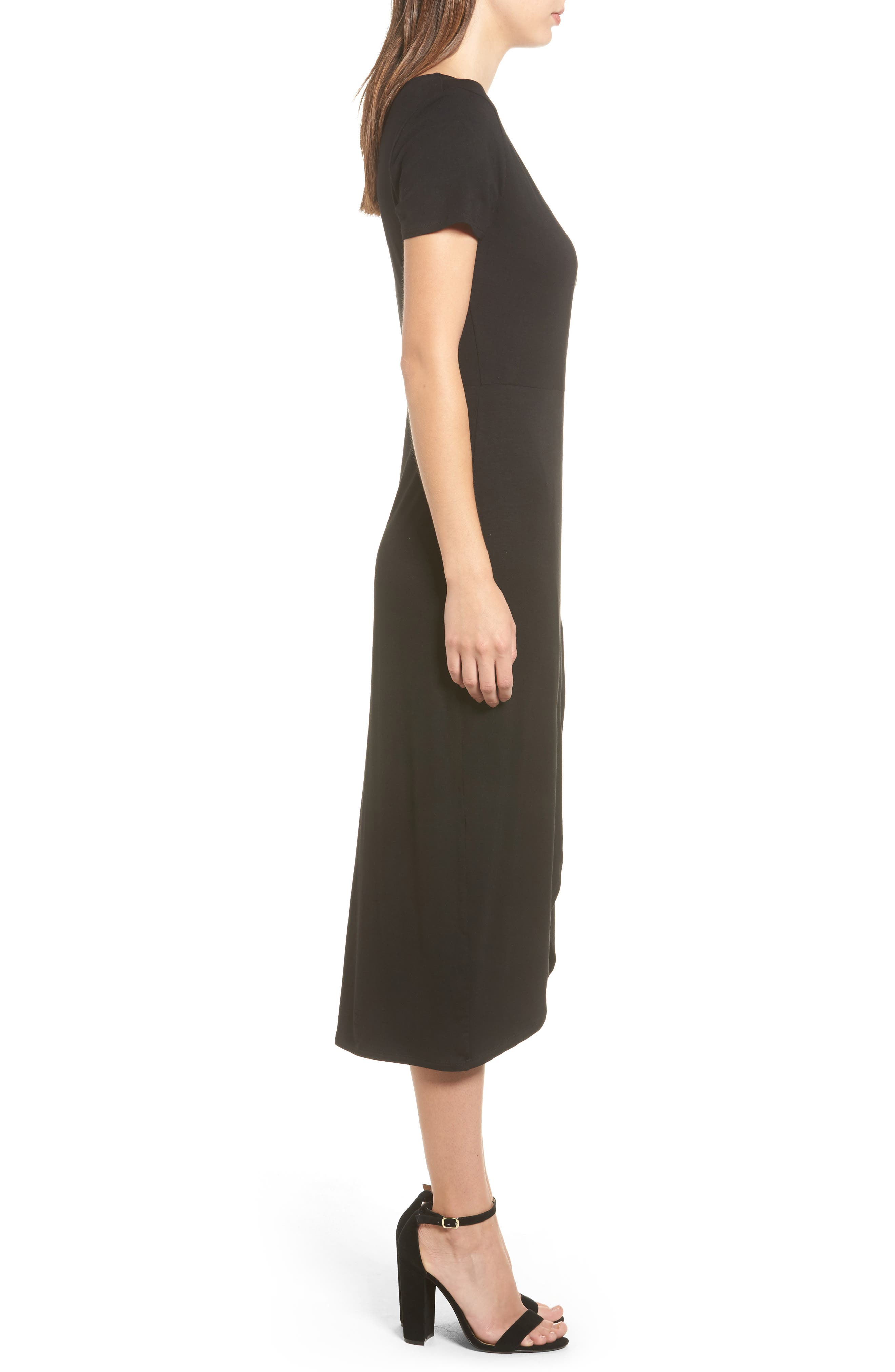 Knit Wrap Midi Dress,                             Alternate thumbnail 3, color,                             001