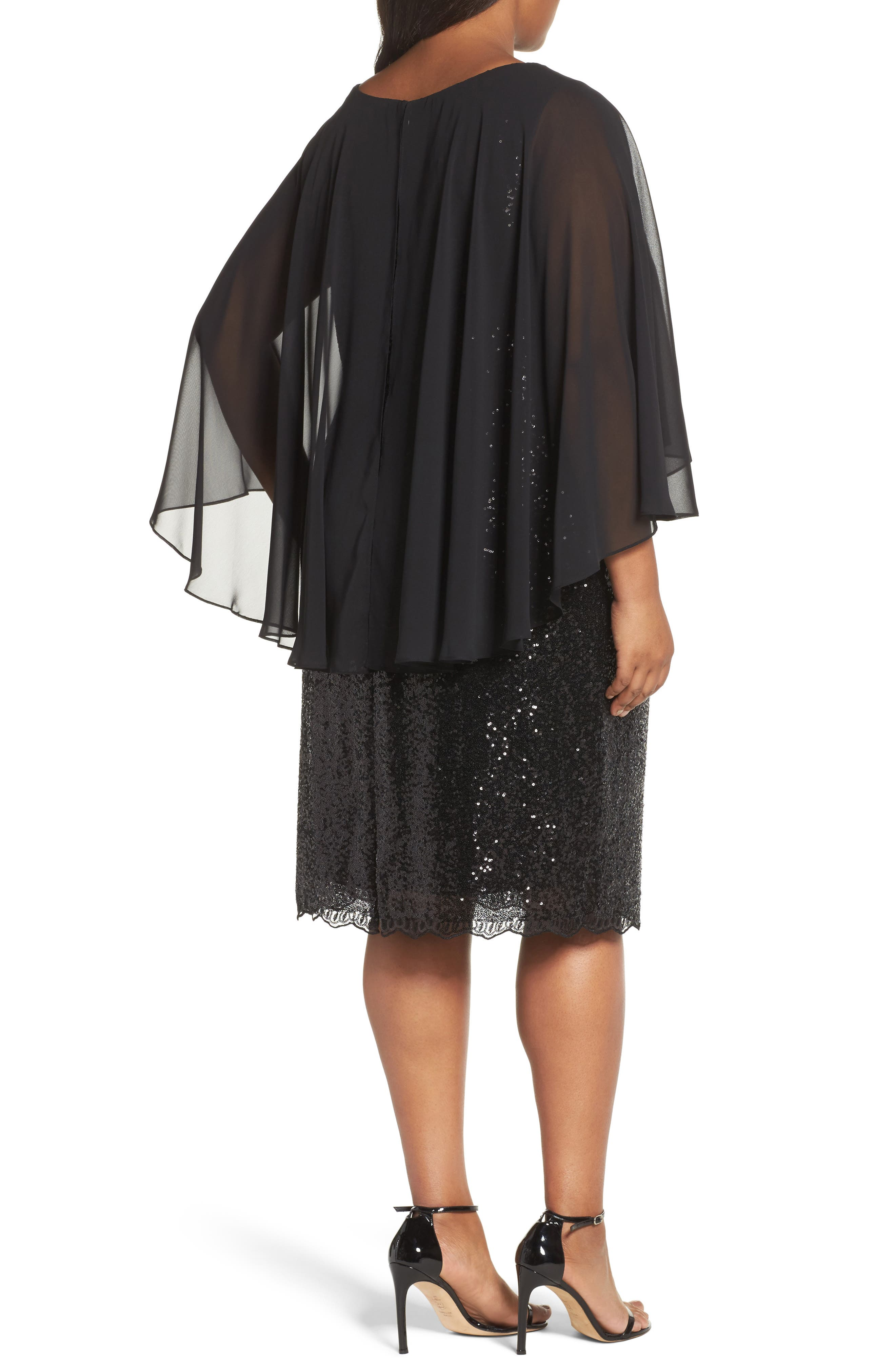 Capelet Sequin Shift Dress,                             Alternate thumbnail 2, color,                             001