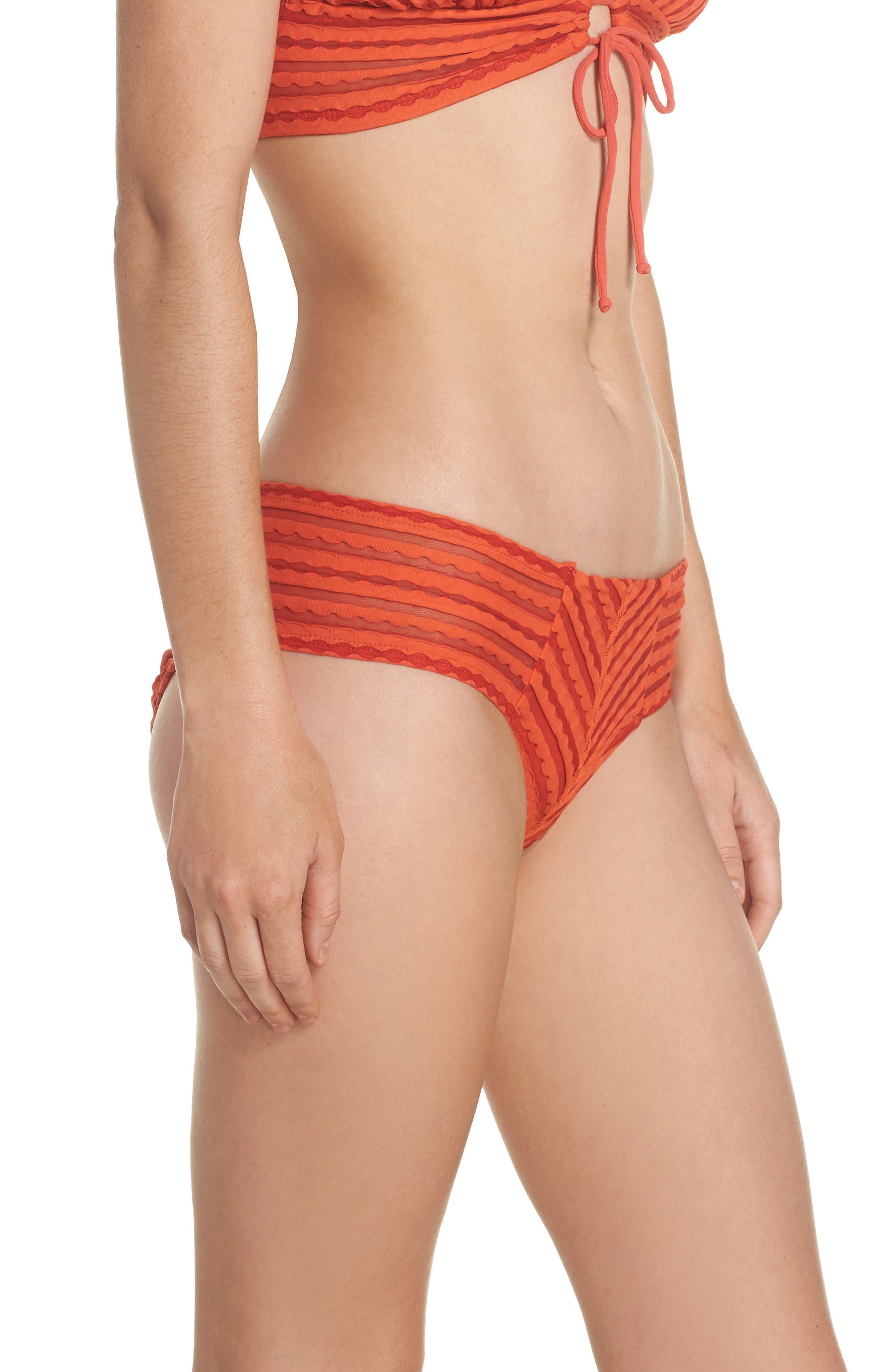 Carly Hipster Bikini Bottoms,                             Alternate thumbnail 3, color,                             PIMENTO