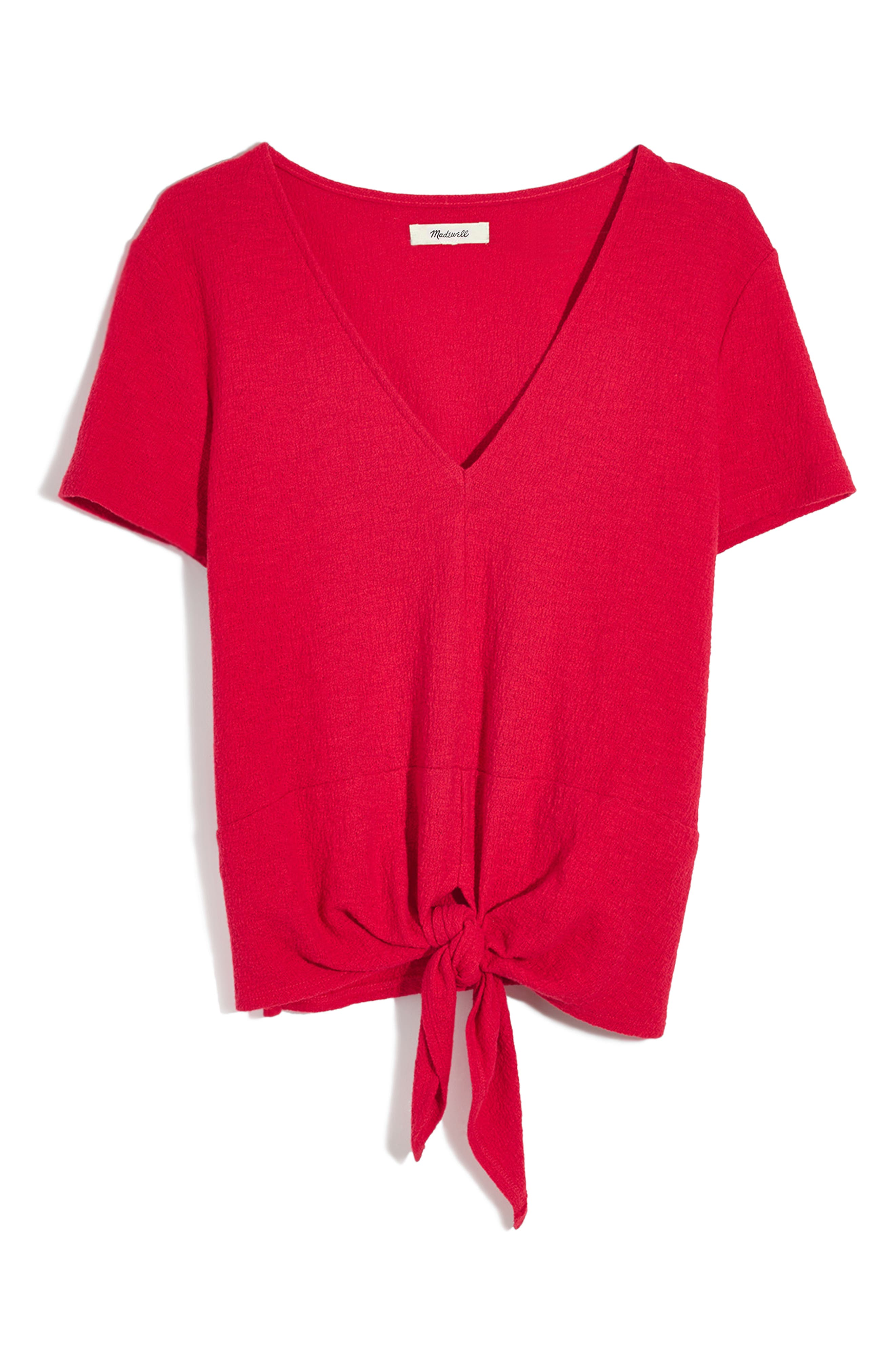 Texture & Thread V-Neck Modern Tie-Front Top,                             Alternate thumbnail 4, color,                             CRANBERRY