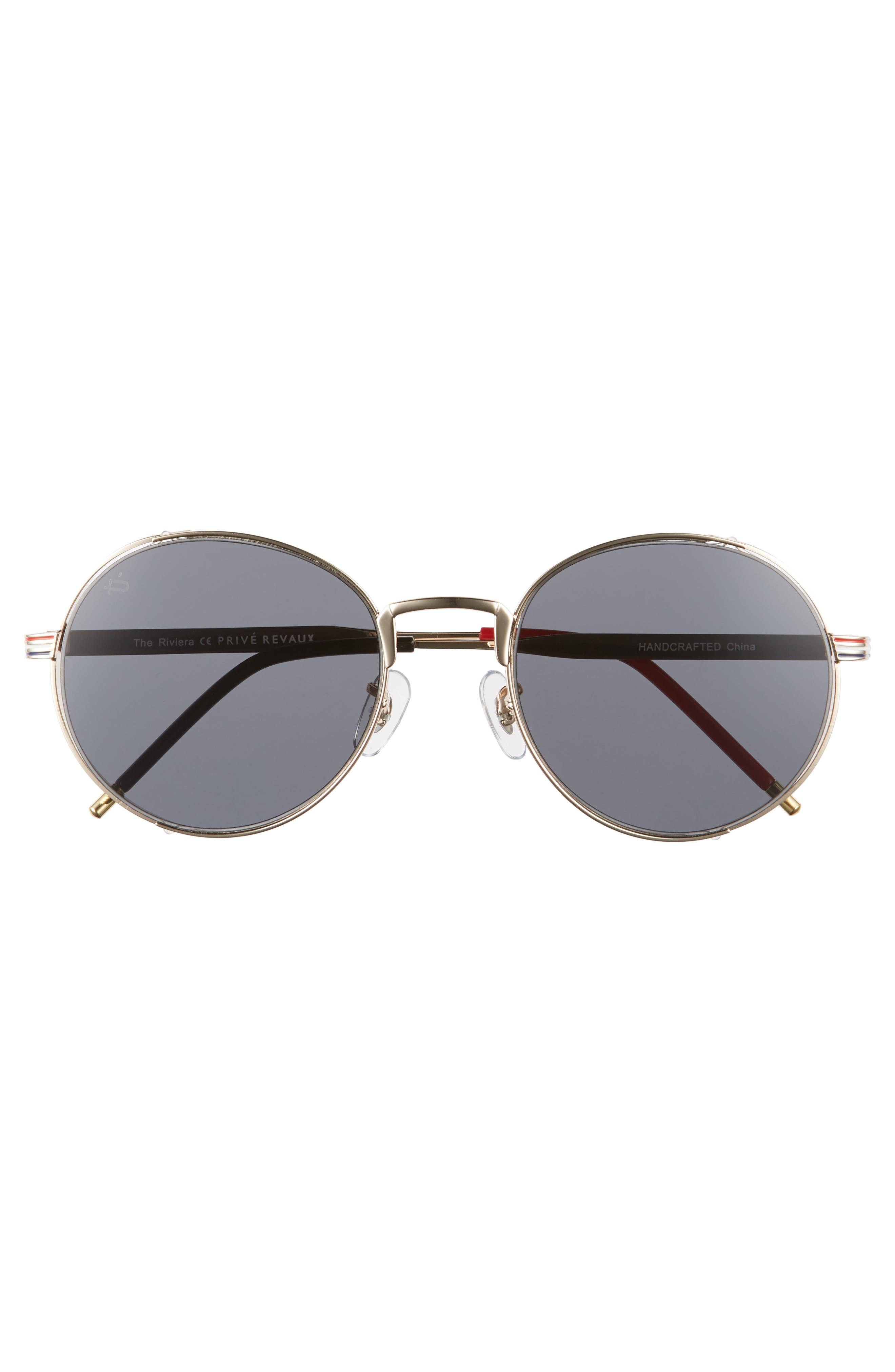 Privé Revaux The Riviera Round Sunglasses,                             Alternate thumbnail 3, color,                             020