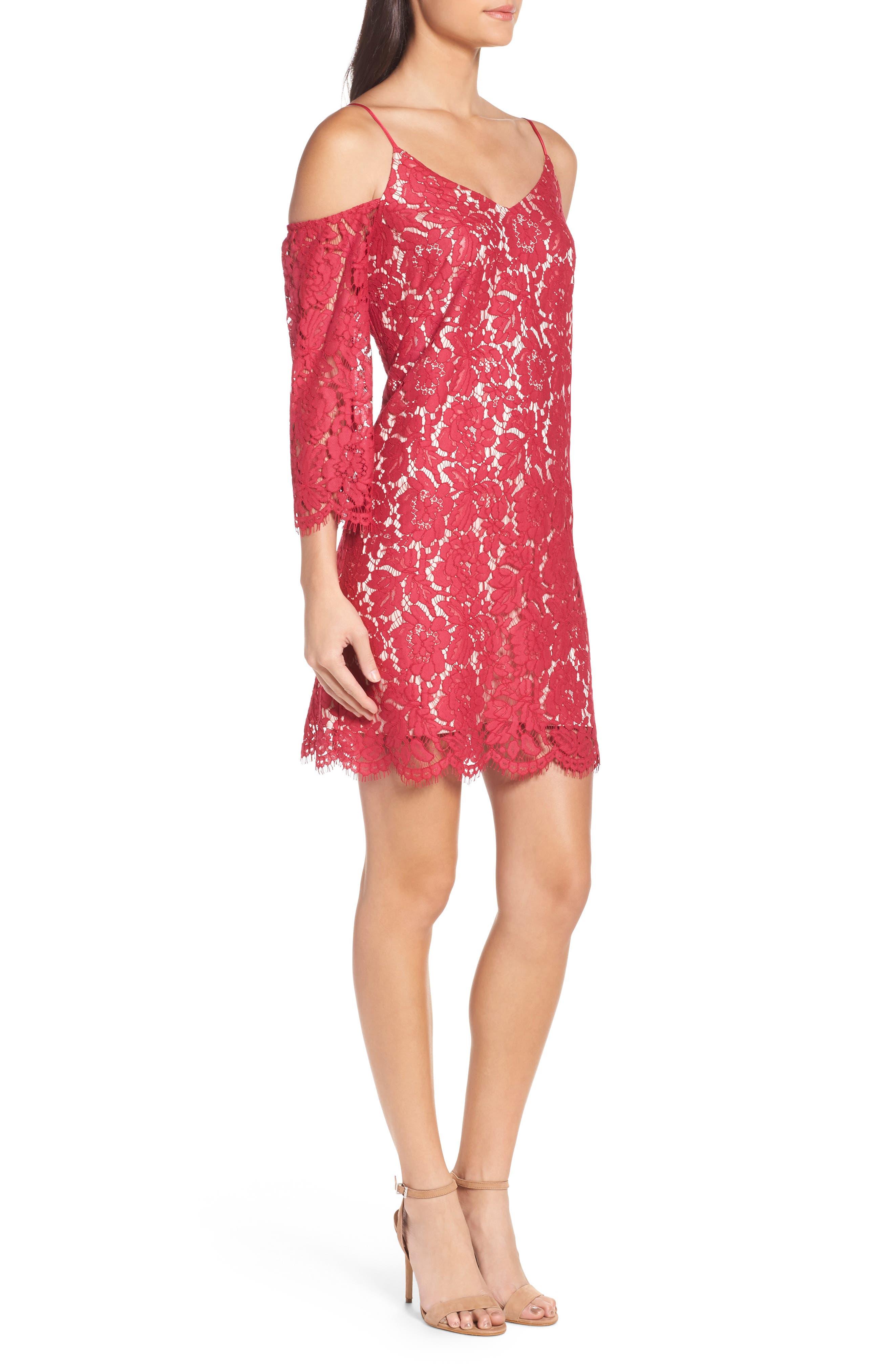 Cold Shoulder Lace Shift Dress,                             Alternate thumbnail 3, color,                             601
