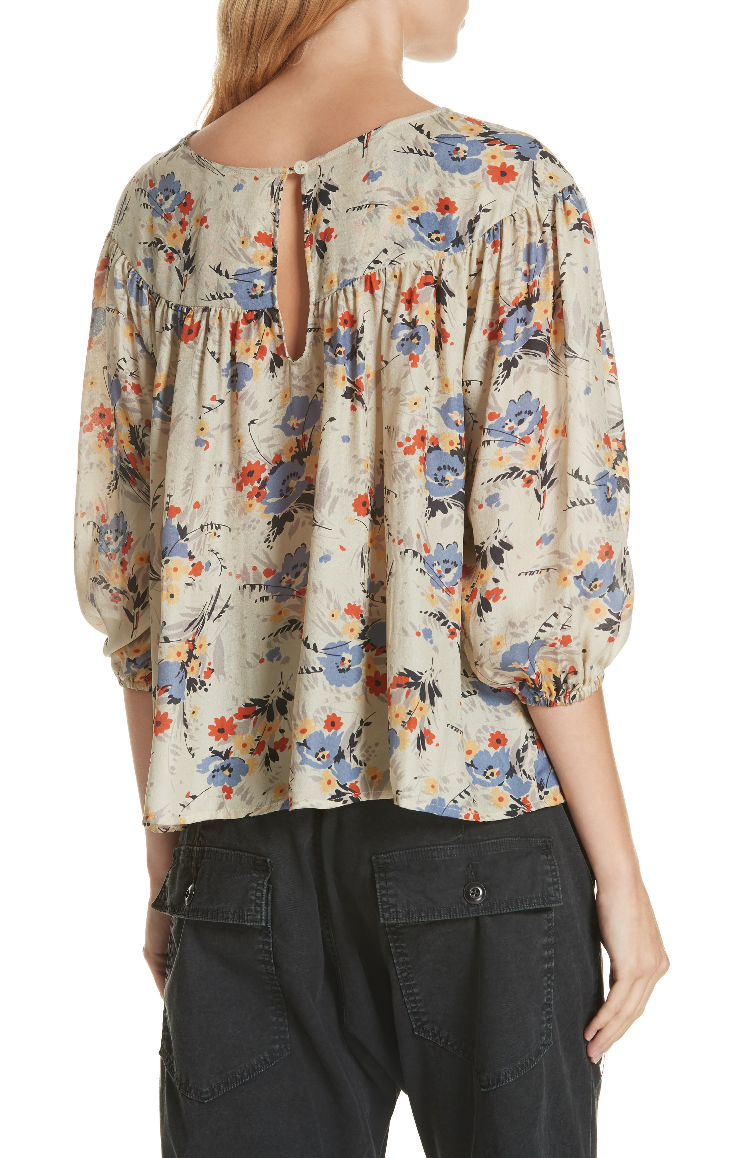 Duskfall Silk Blouse,                             Alternate thumbnail 2, color,                             WOODLAND FLORAL