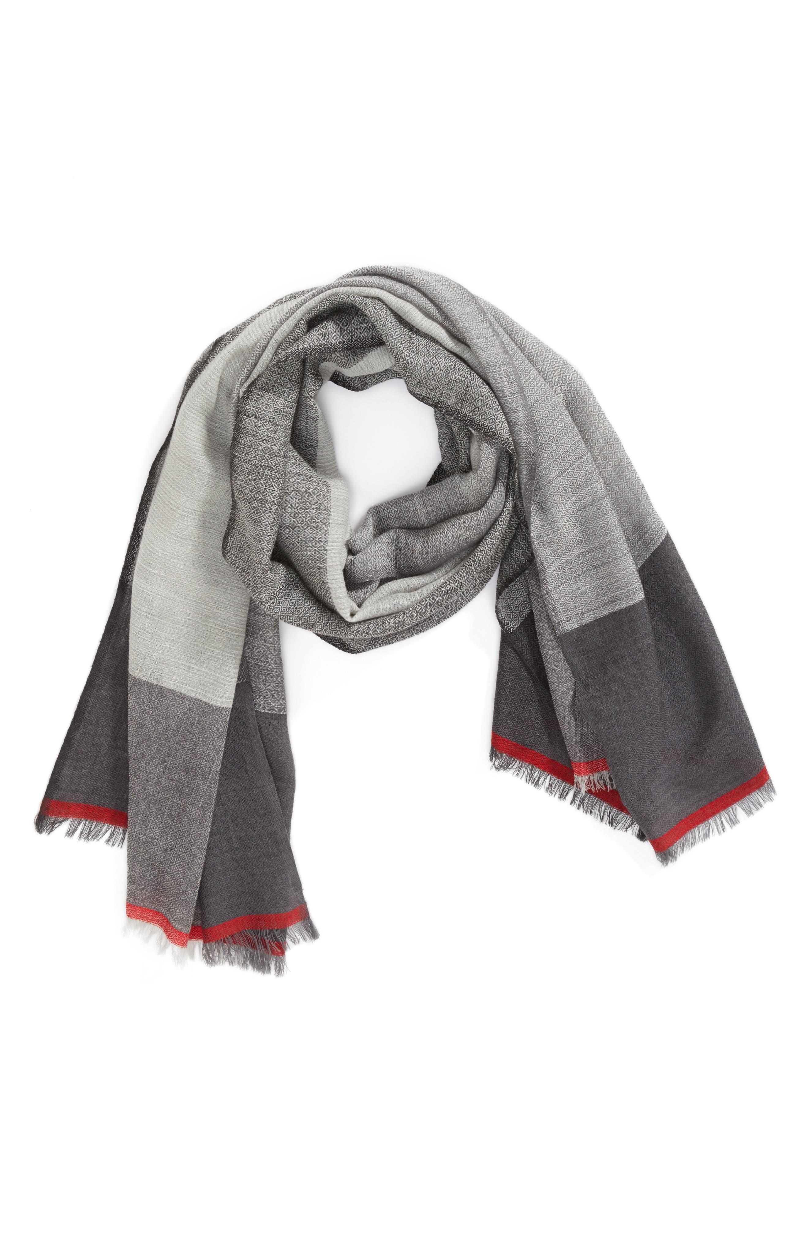 Colorblock Wool & Silk Scarf,                             Alternate thumbnail 2, color,                             030