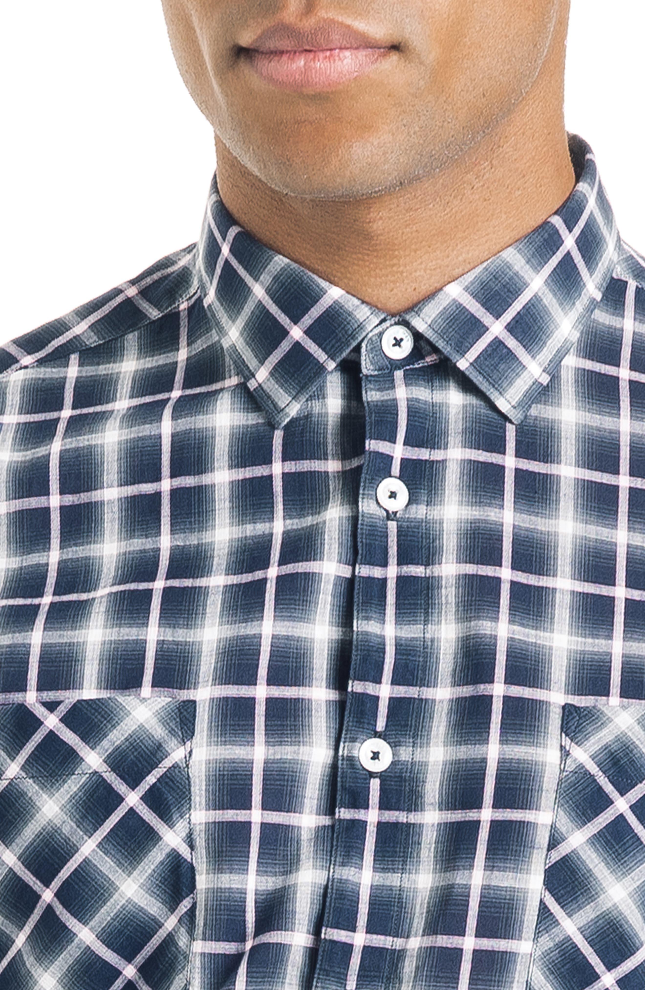 Bias Slim Fit Ombré Plaid Sport Shirt,                             Alternate thumbnail 4, color,                             BLUE