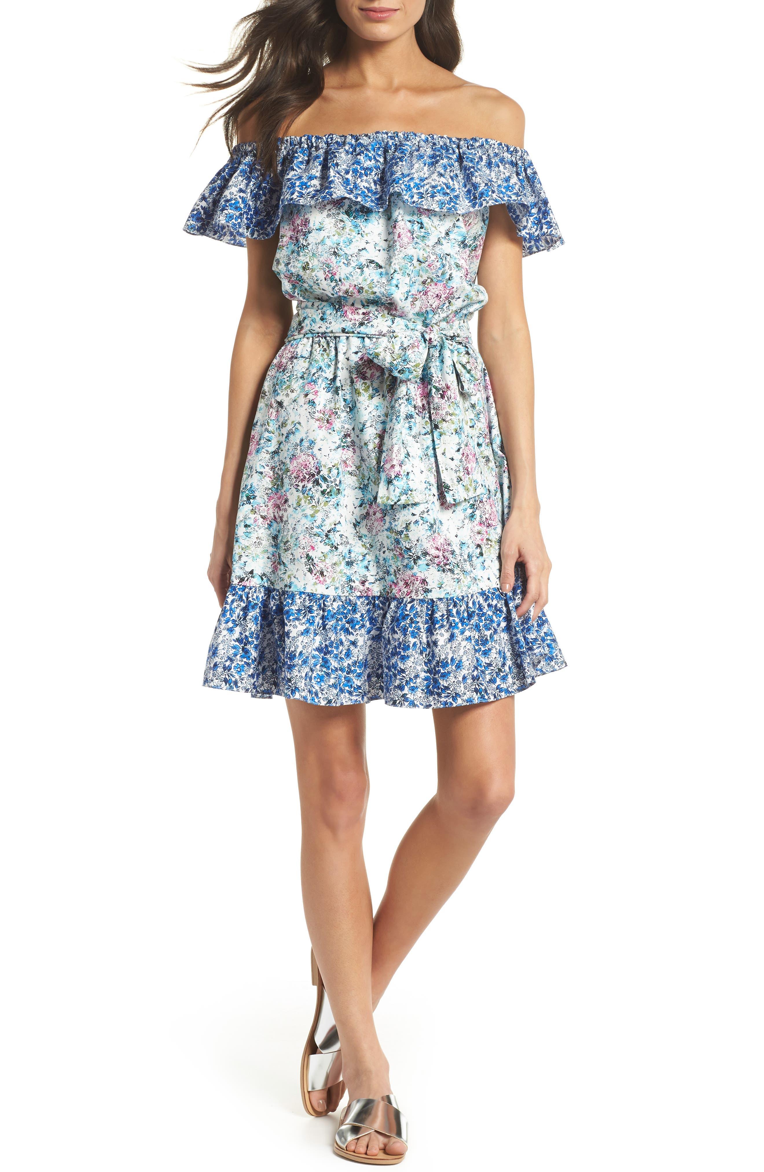 Floral Off the Shoulder Dress,                         Main,                         color, 475