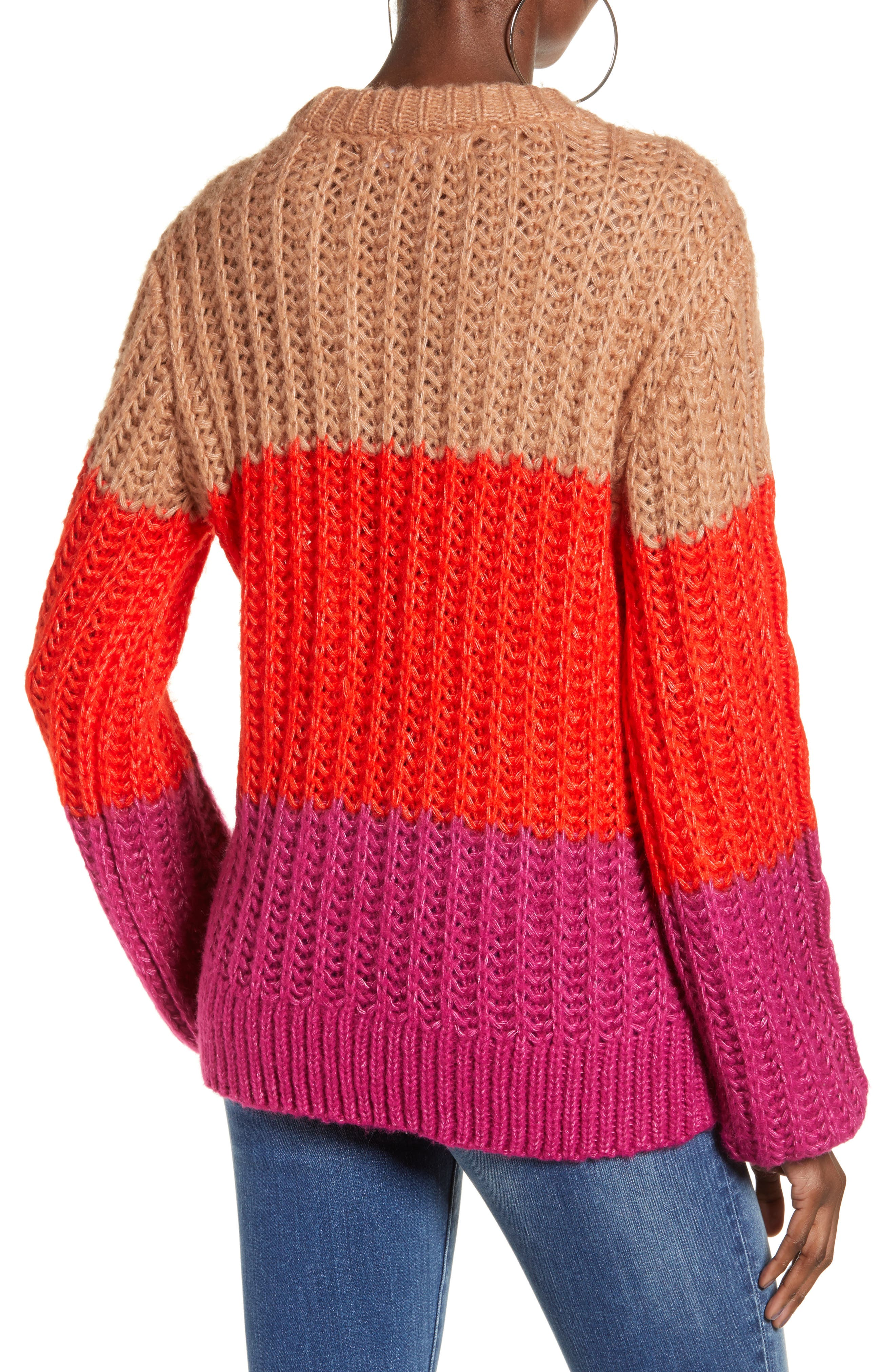 Becca Colorblock Chunky Cable Sweater,                             Alternate thumbnail 2, color,                             CAFE AU LAIT