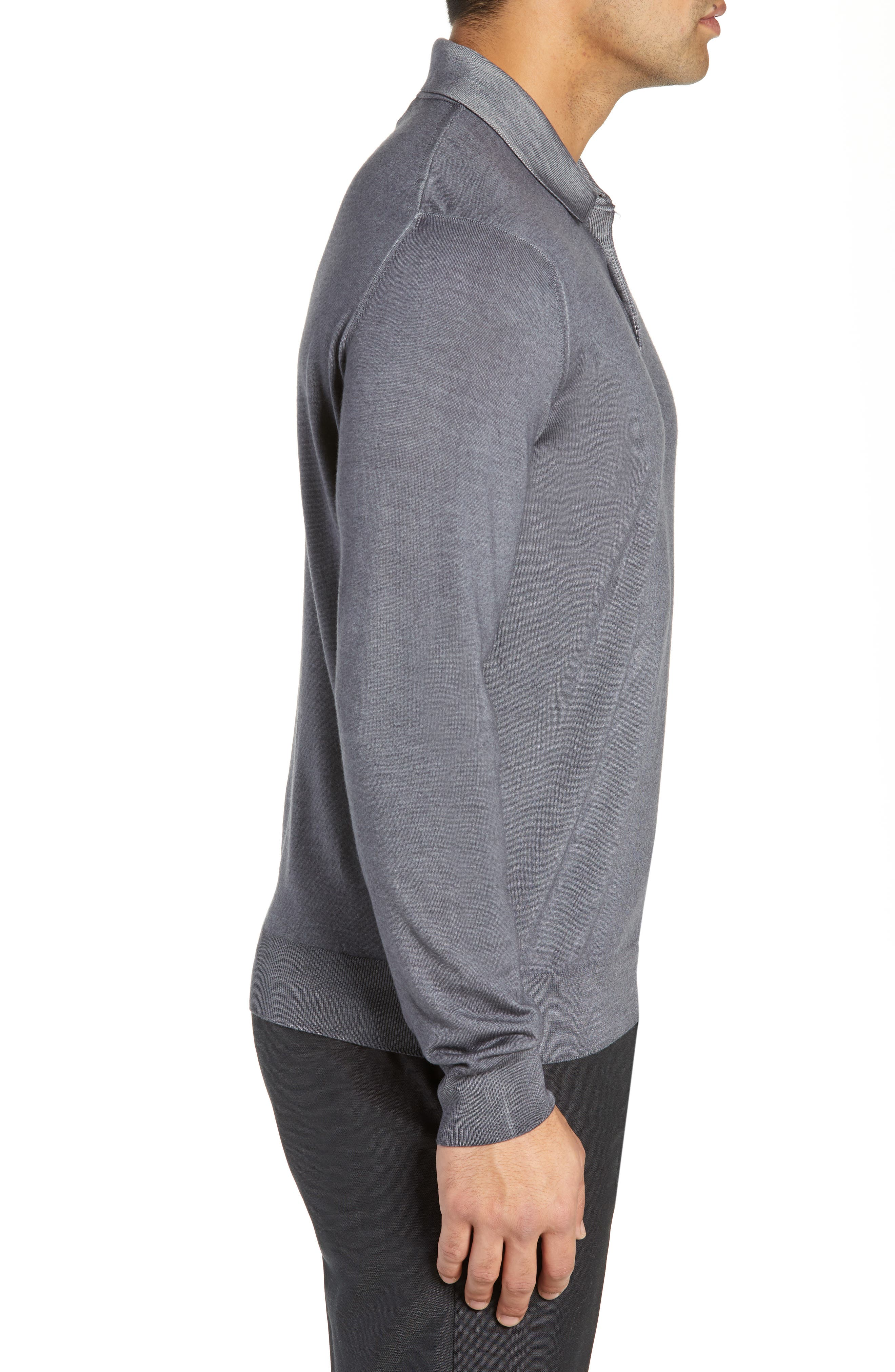 Dustin Wool Polo Sweater,                             Alternate thumbnail 3, color,                             GREY