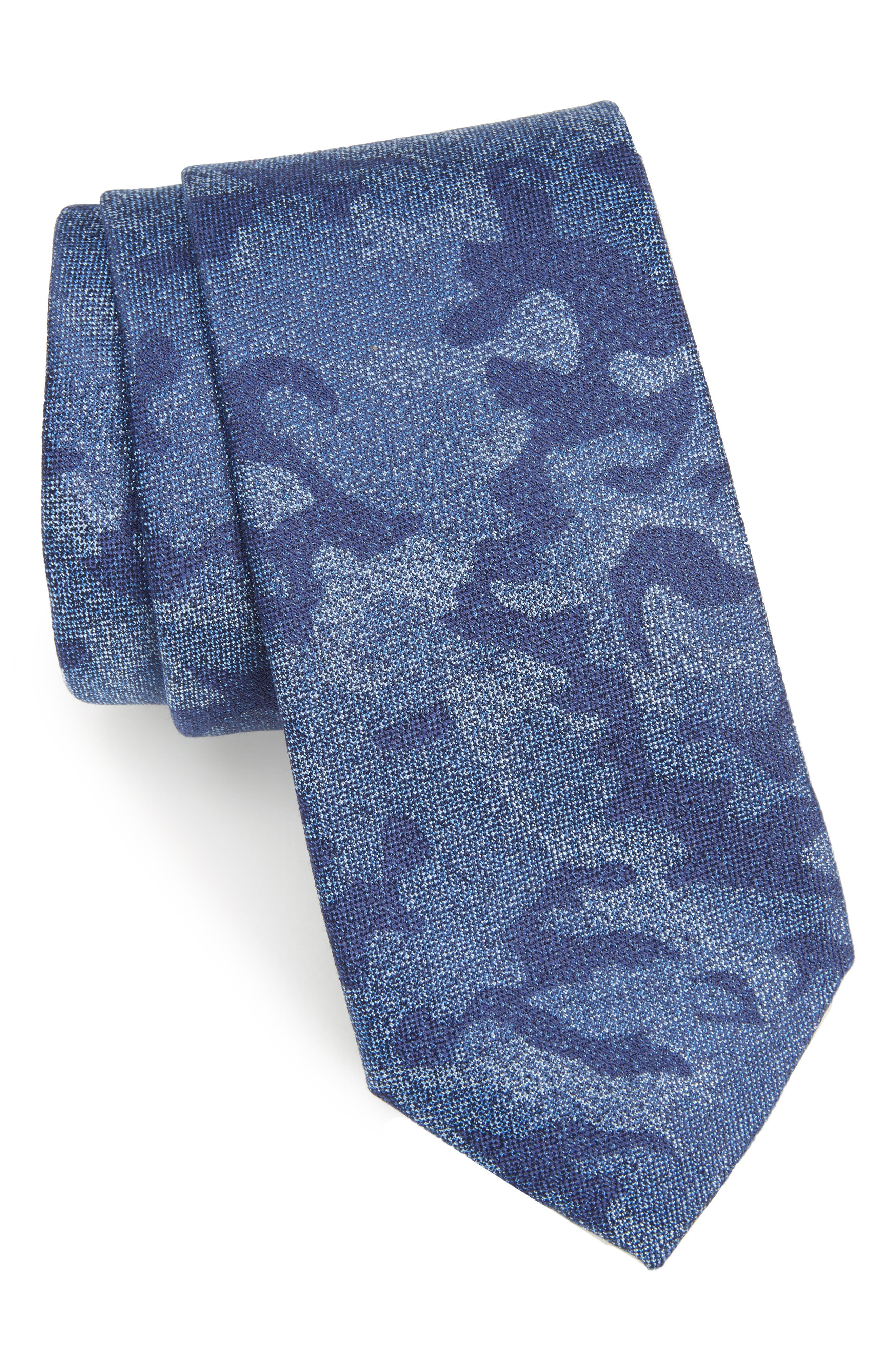 Morada Camo Silk & Cotton Tie,                             Main thumbnail 1, color,                             410