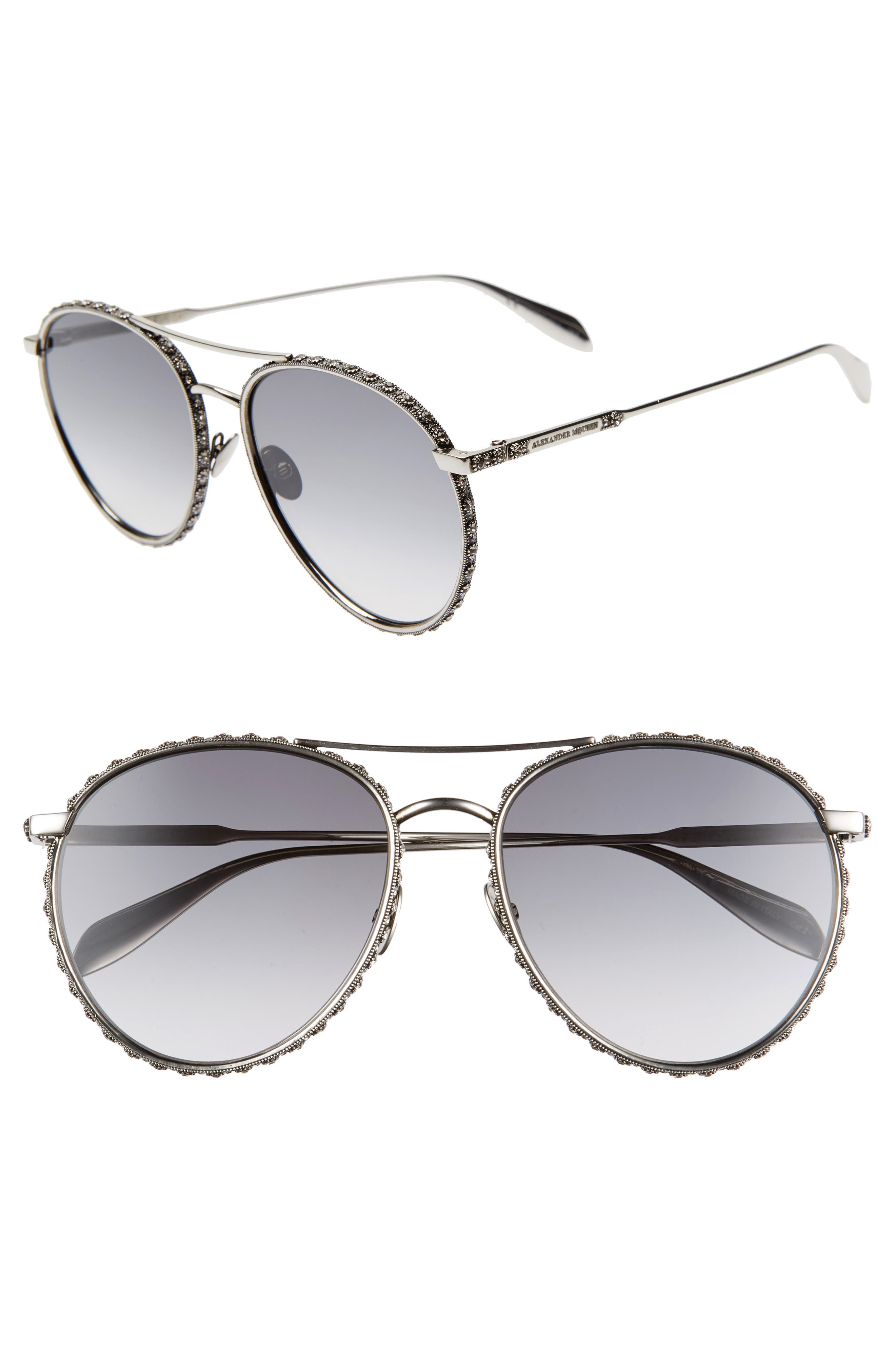 58mm Swarovski Crystal Trim Round Aviator Sunglasses,                             Main thumbnail 1, color,                             SILVER