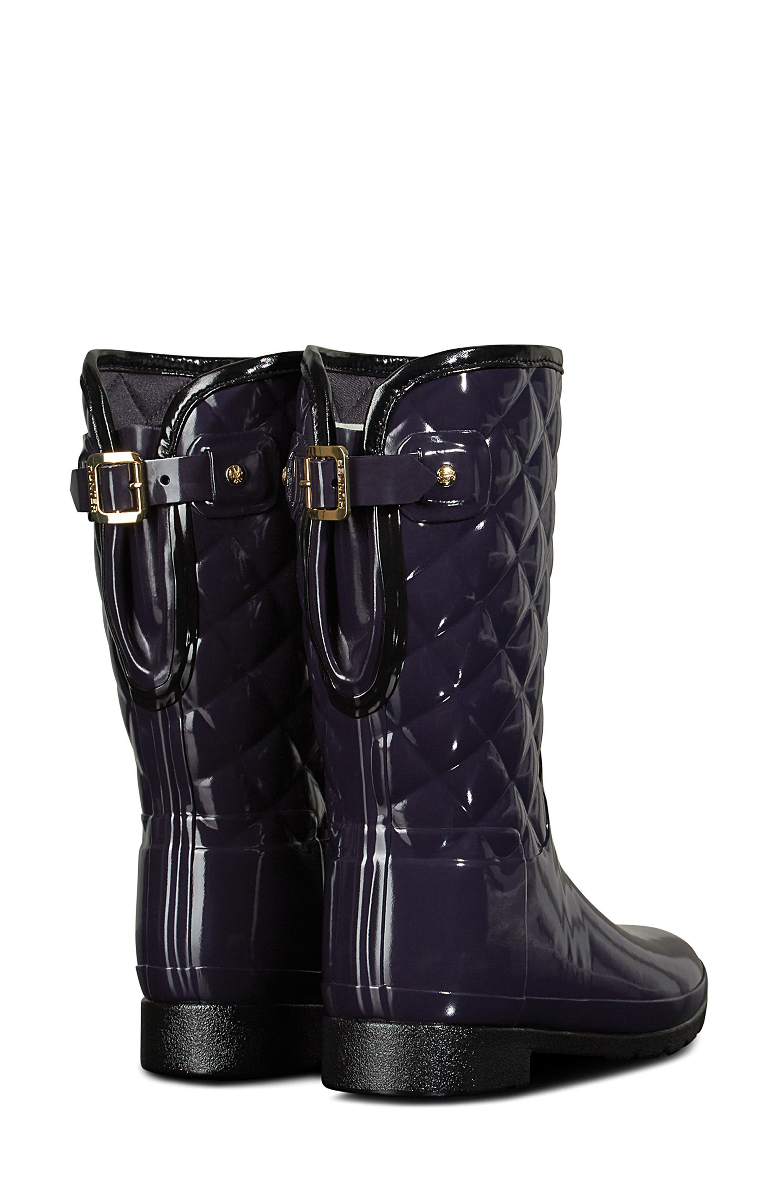 Refined High Gloss Quilted Short Rain Boot,                             Alternate thumbnail 2, color,                             AUBERGINE