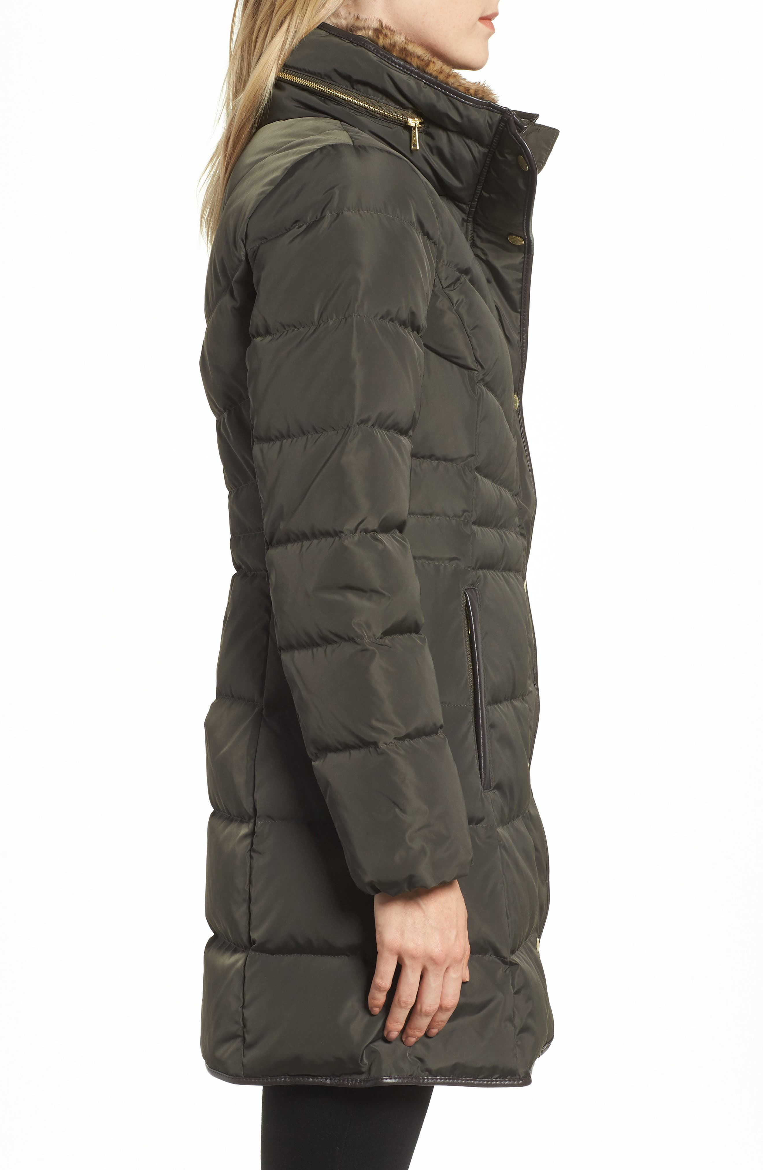Cole Haan Quilted Down & Feather Fill Jacket with Faux Fur Trim,                             Alternate thumbnail 3, color,                             FOREST