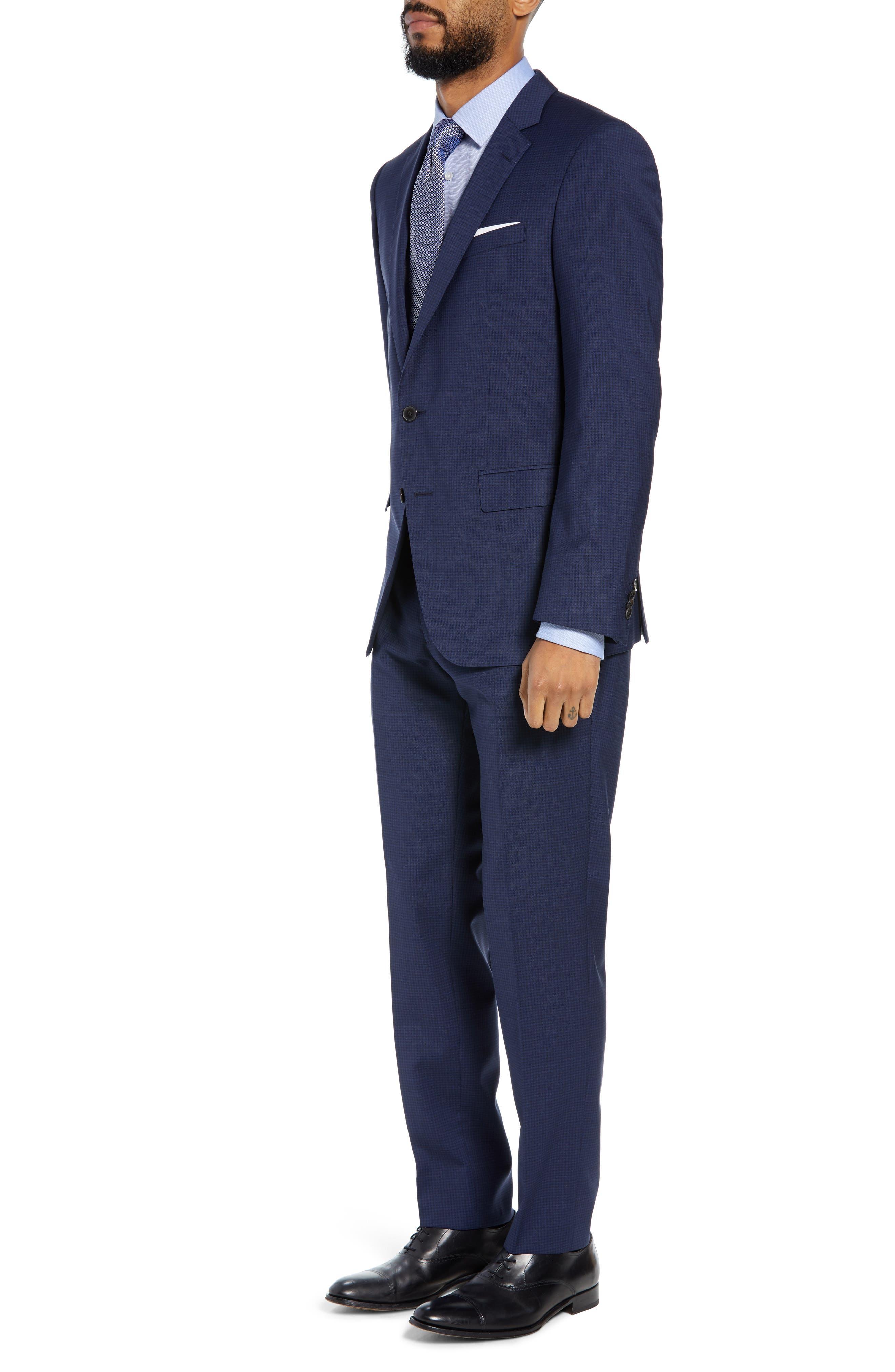 Huge/Genius Trim Fit Solid Wool Suit,                             Alternate thumbnail 3, color,                             DARK BLUE