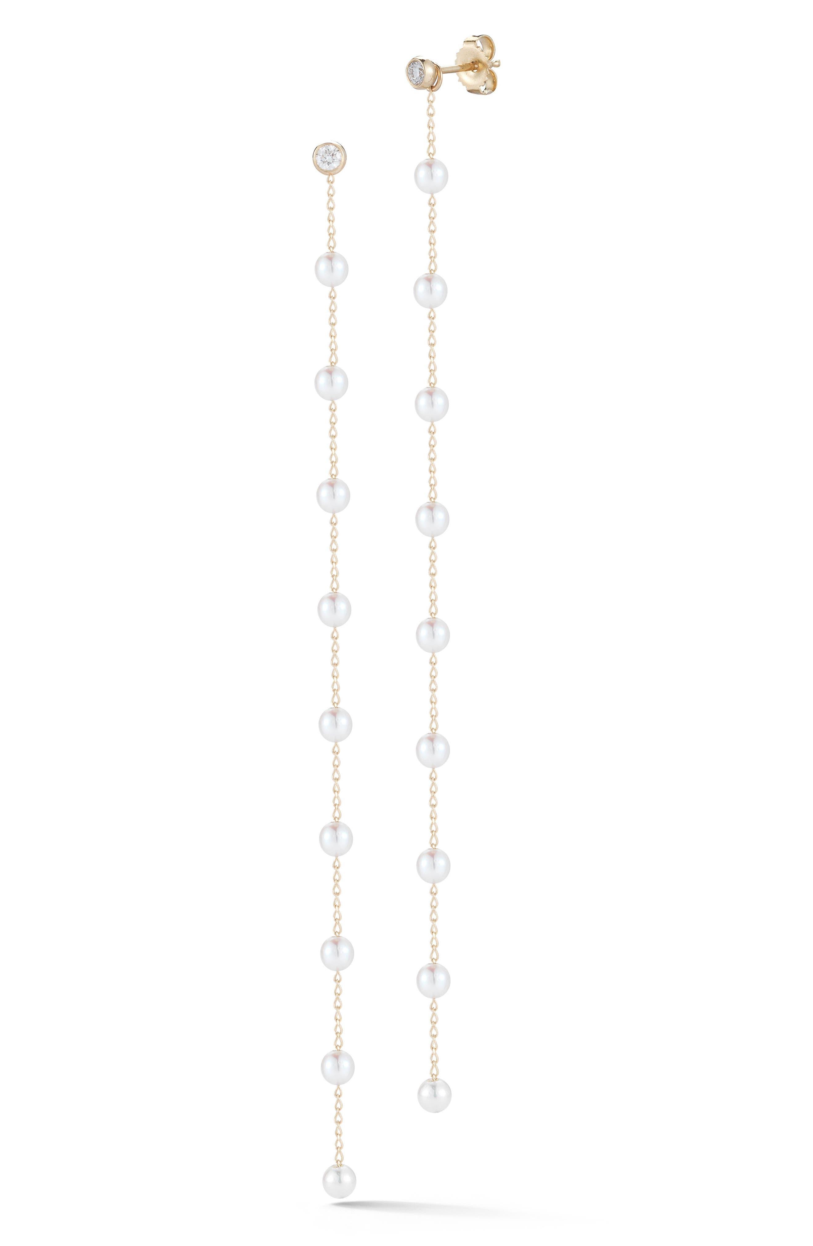 Long Pearl & Diamond Drop Earrings,                             Main thumbnail 1, color,                             YELLOW GOLD/ WHITE PEARL
