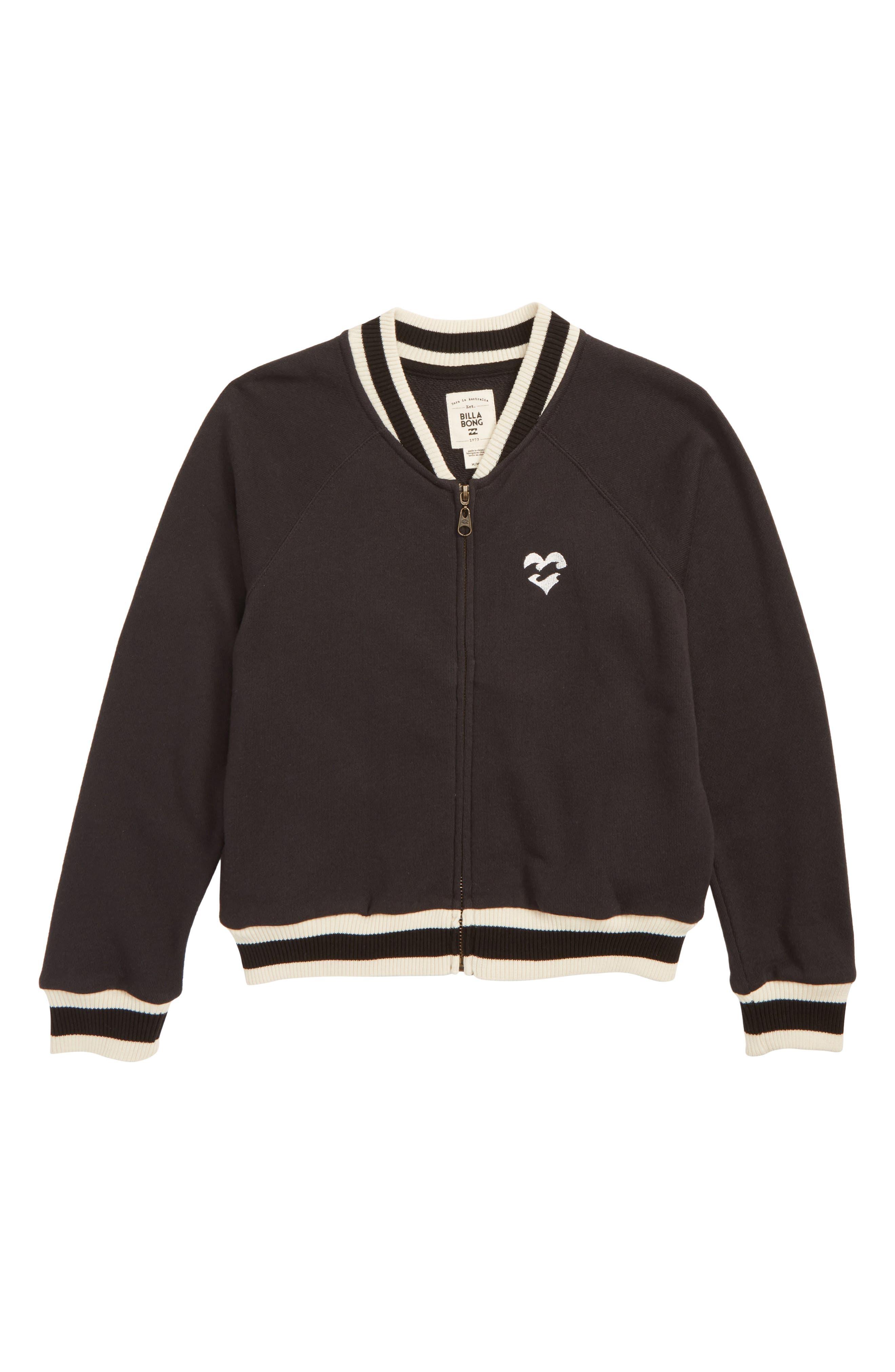 Girls Rule Full Zip Jacket,                             Main thumbnail 1, color,                             BLACK