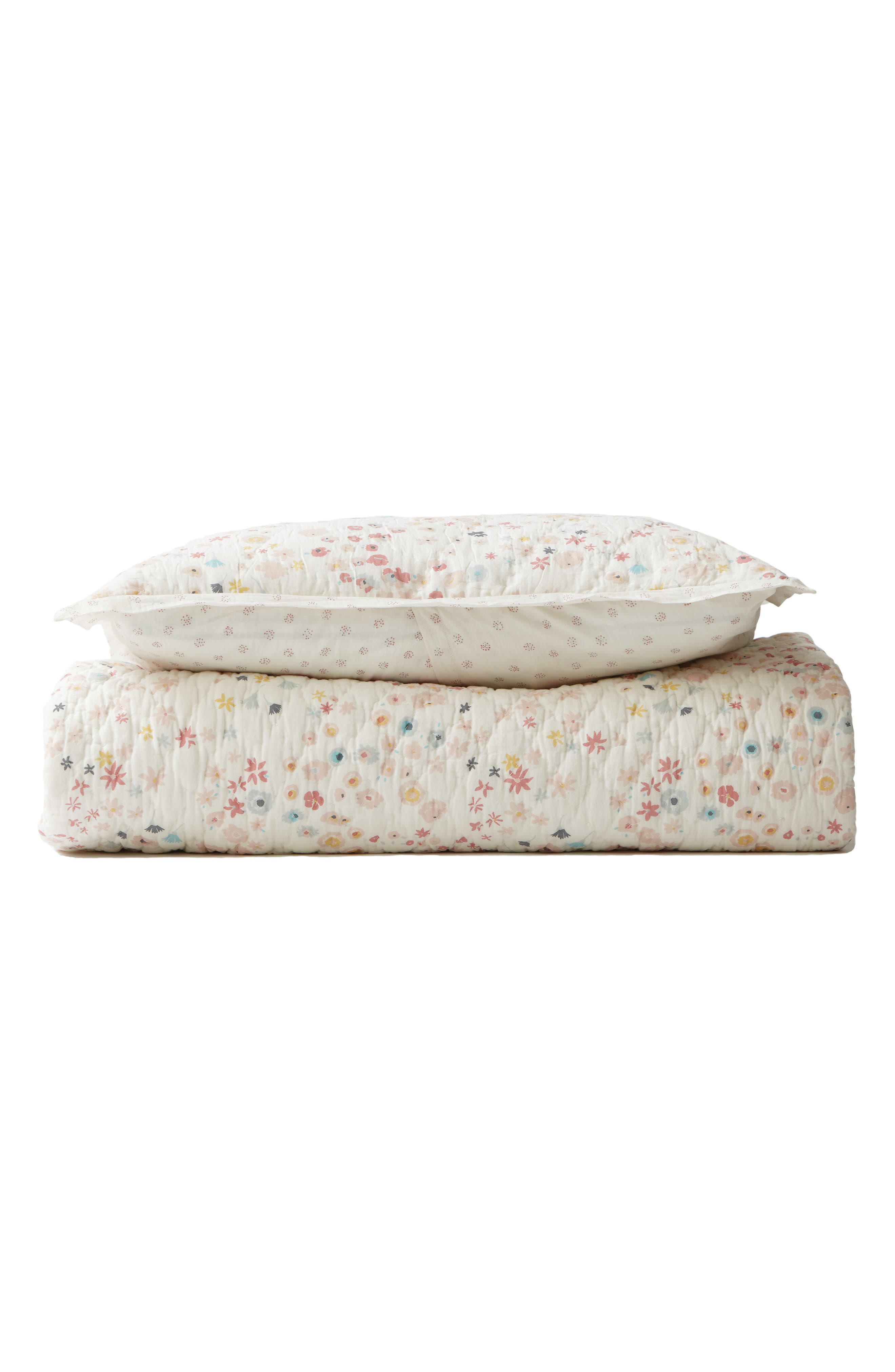 Meadow Print Reversible Quilt,                         Main,                         color, PINK