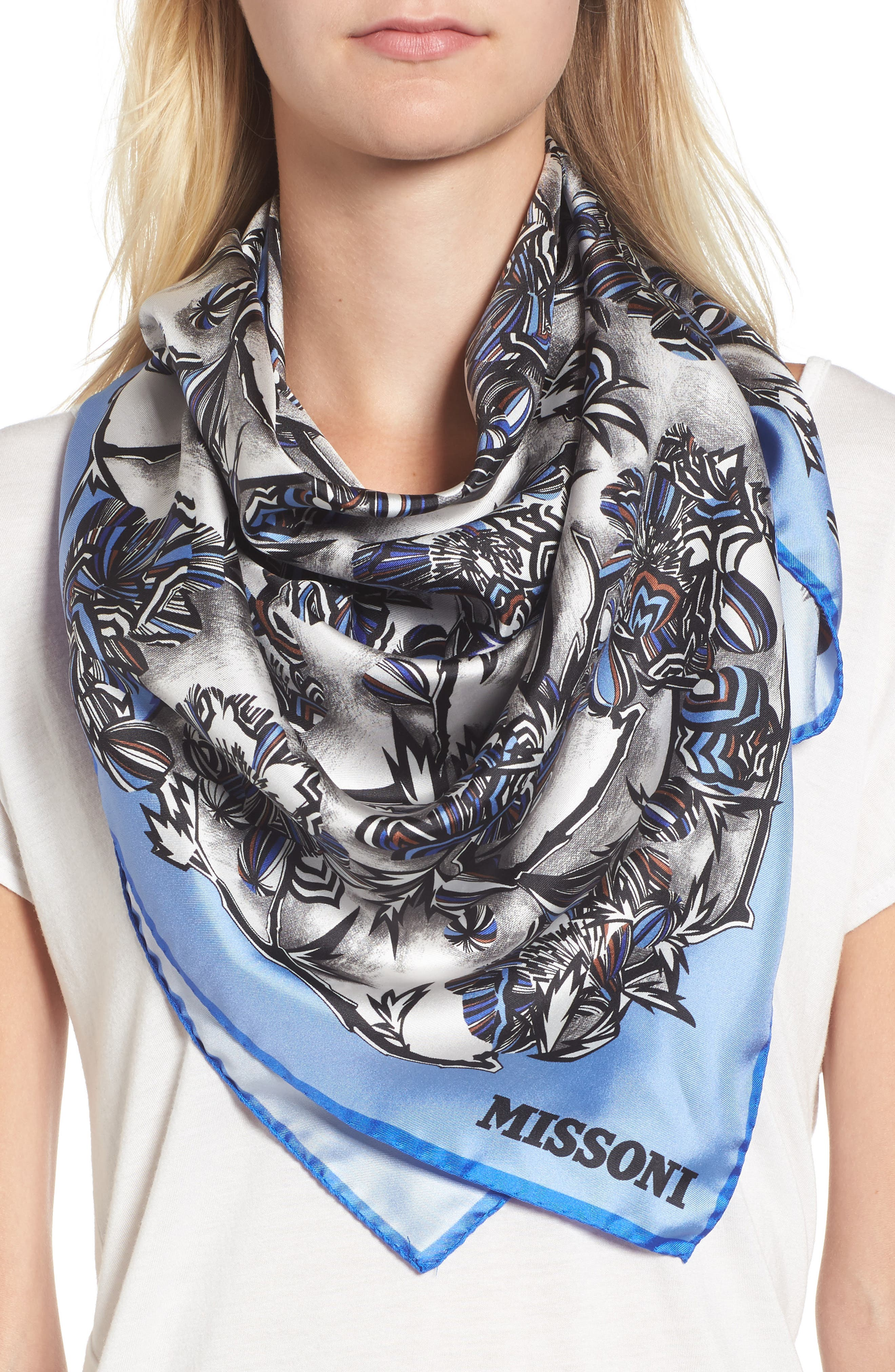 Floral Print Square Silk Scarf,                             Alternate thumbnail 2, color,                             BLUE