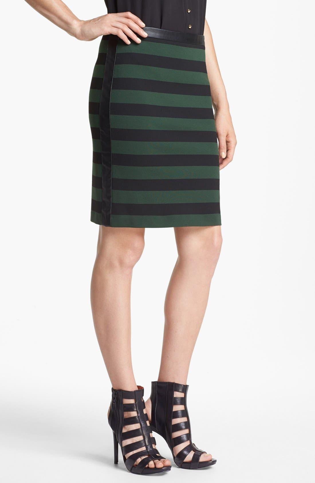 Faux Leather Trim Stripe Pencil Skirt,                             Main thumbnail 1, color,