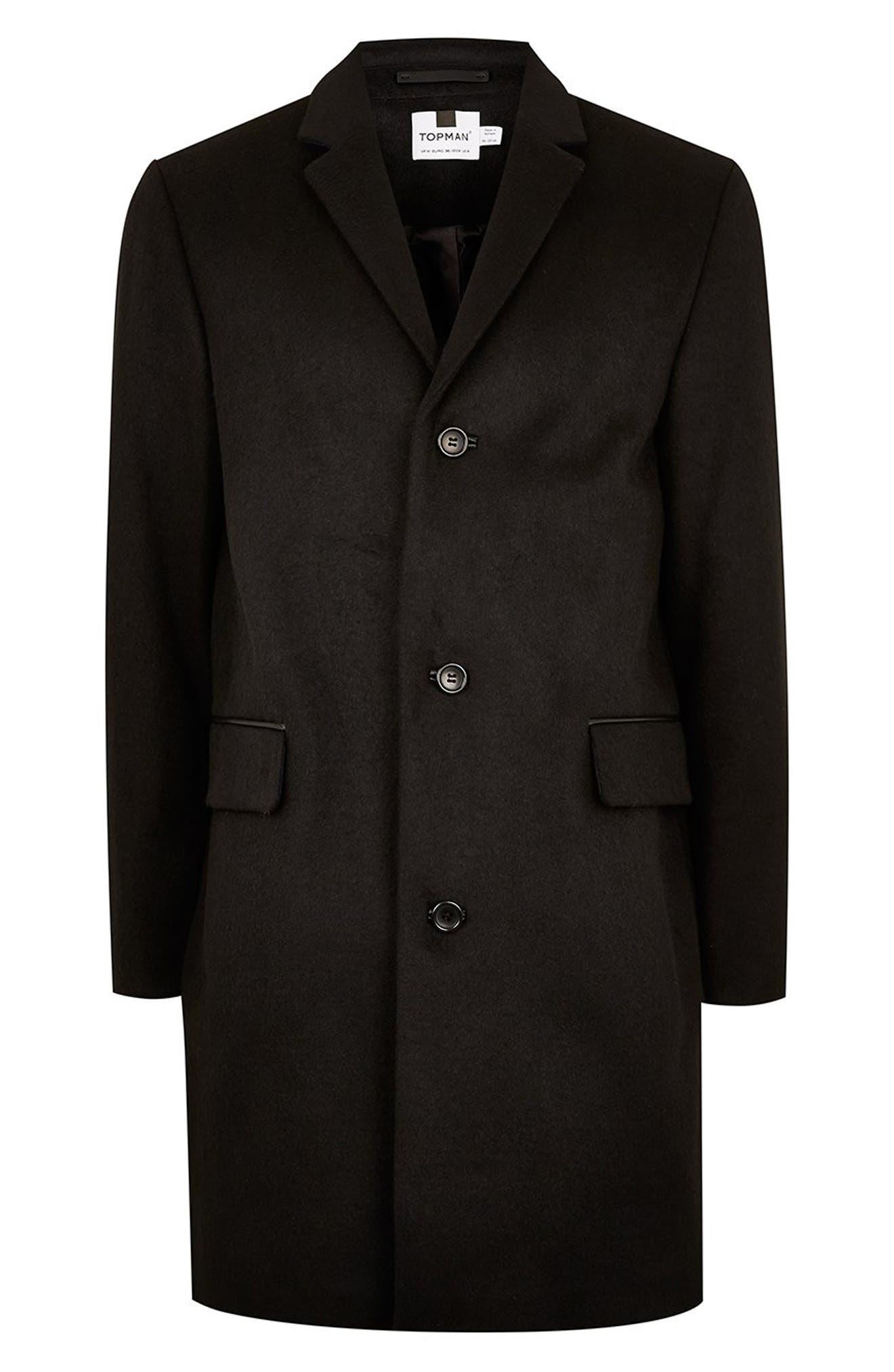 Wool Blend Overcoat,                             Alternate thumbnail 6, color,                             BLACK
