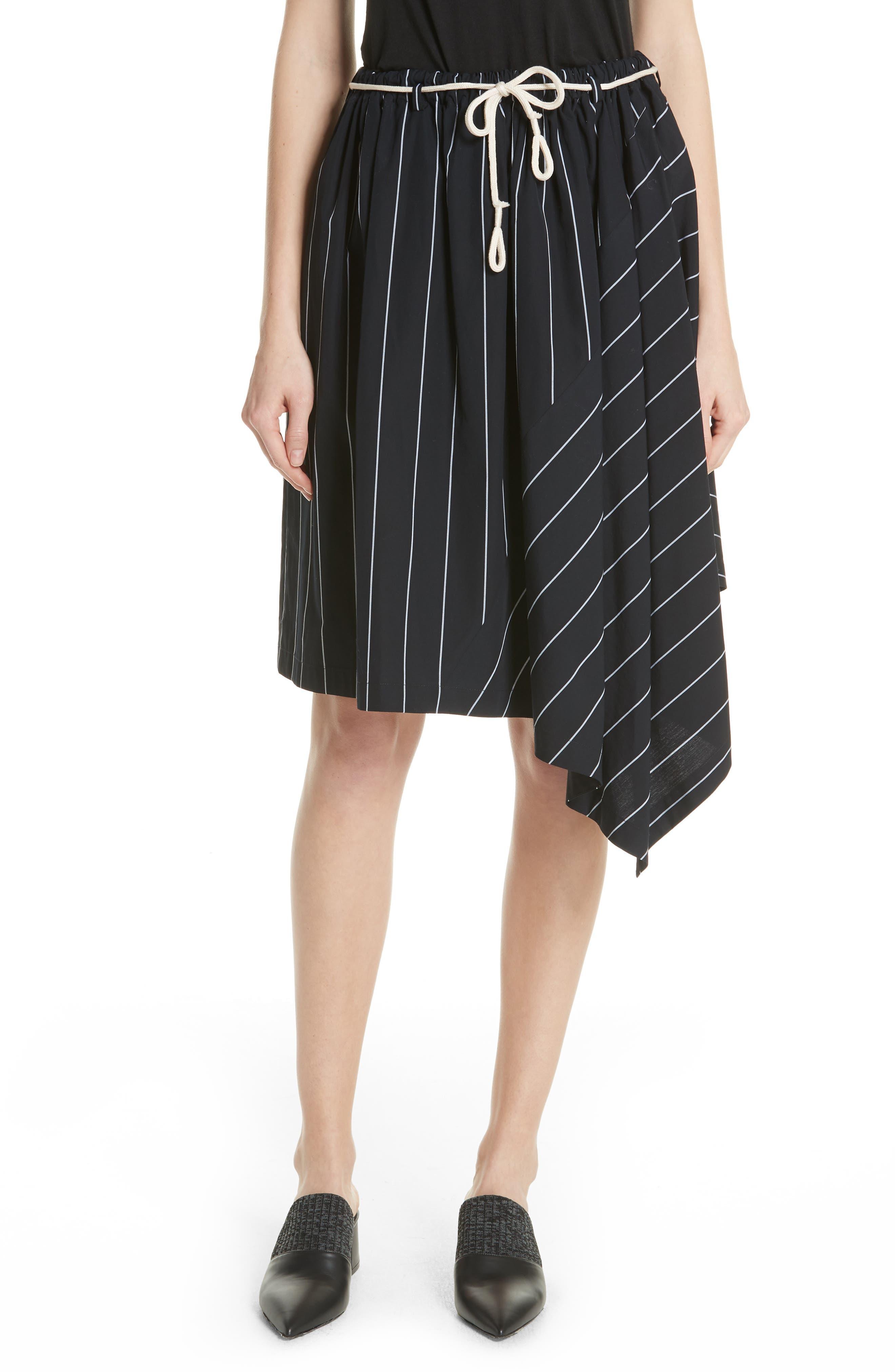 Skinny Stripe Asymmetrical Cotton Skirt,                             Main thumbnail 1, color,                             435